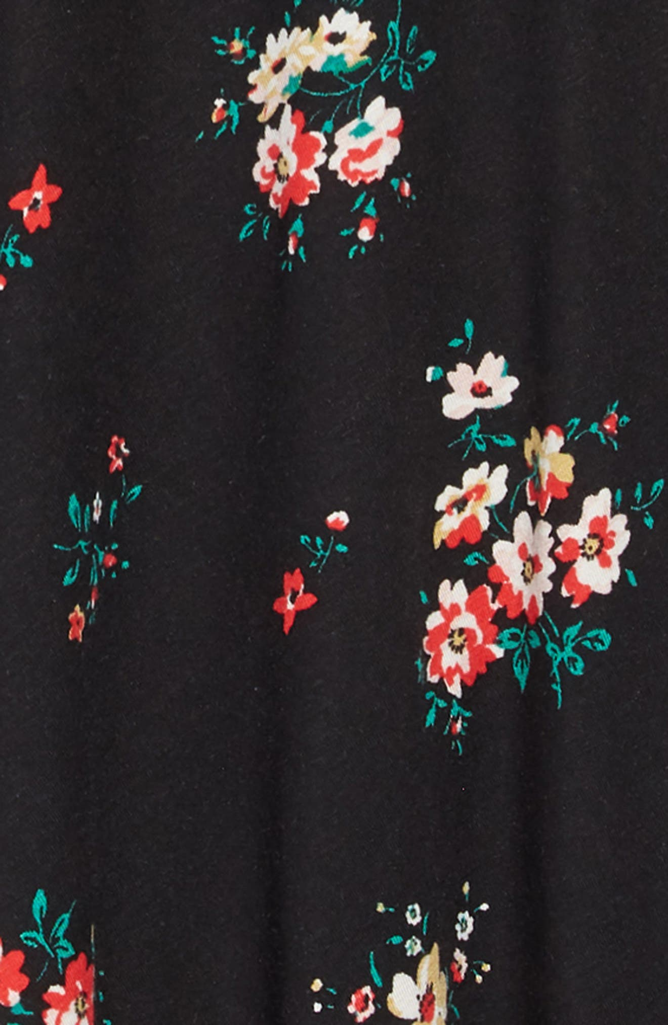 Printed Crisscross Back Shift Dress,                             Alternate thumbnail 3, color,                             BLACK PRETTY FLORAL