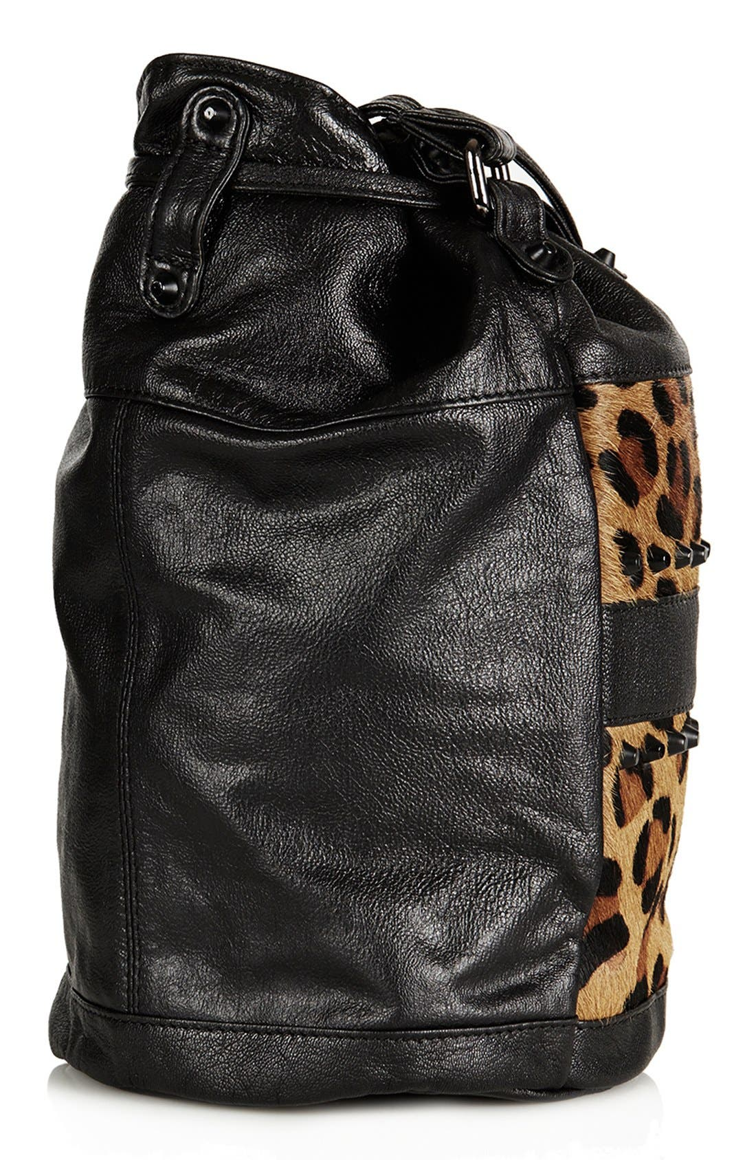 TOPSHOP,                             Leopard Print Crossbody Bag,                             Alternate thumbnail 4, color,                             200