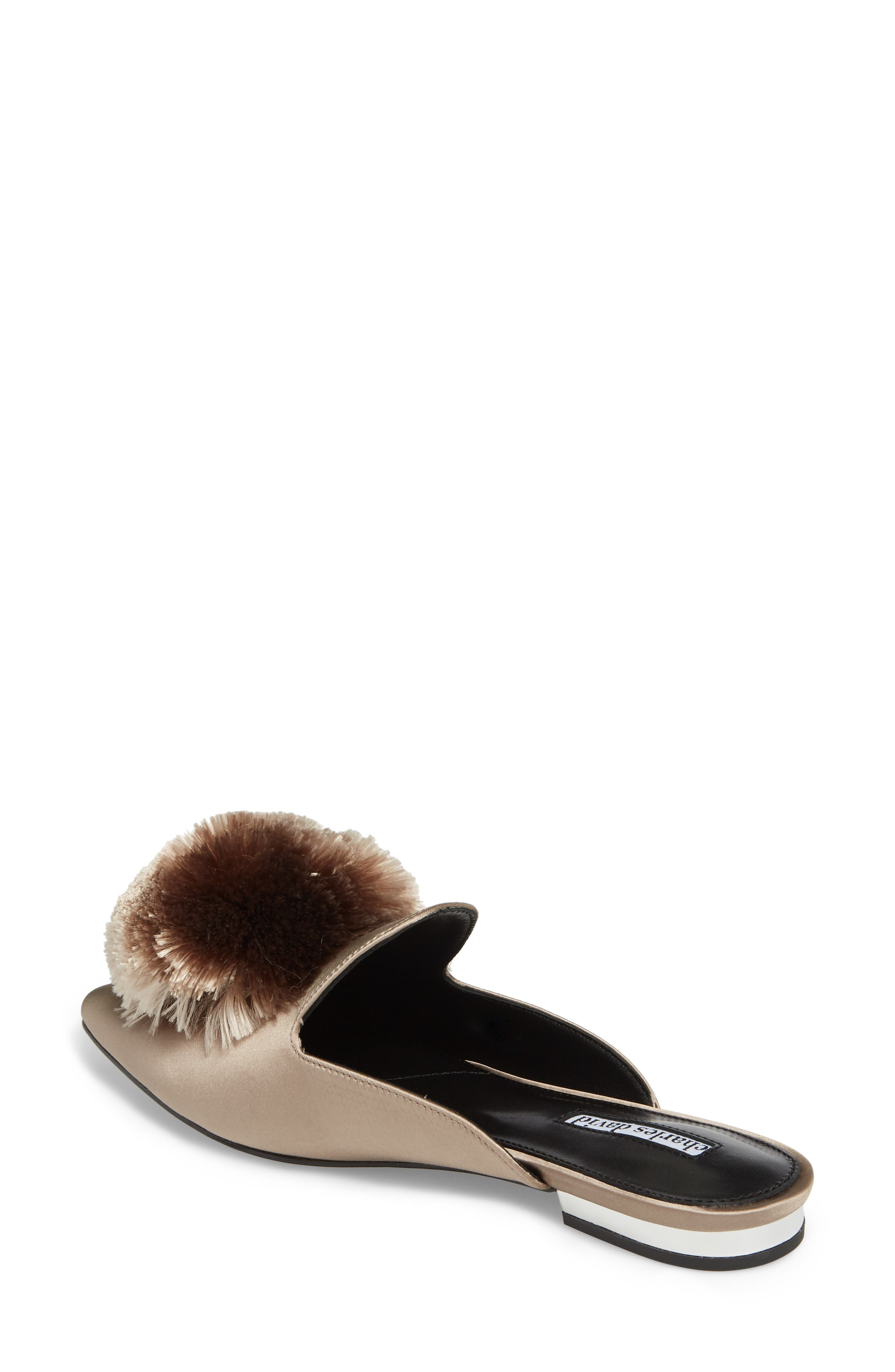 Wella Pompom Loafer Mule,                             Alternate thumbnail 2, color,                             TAUPE SATIN