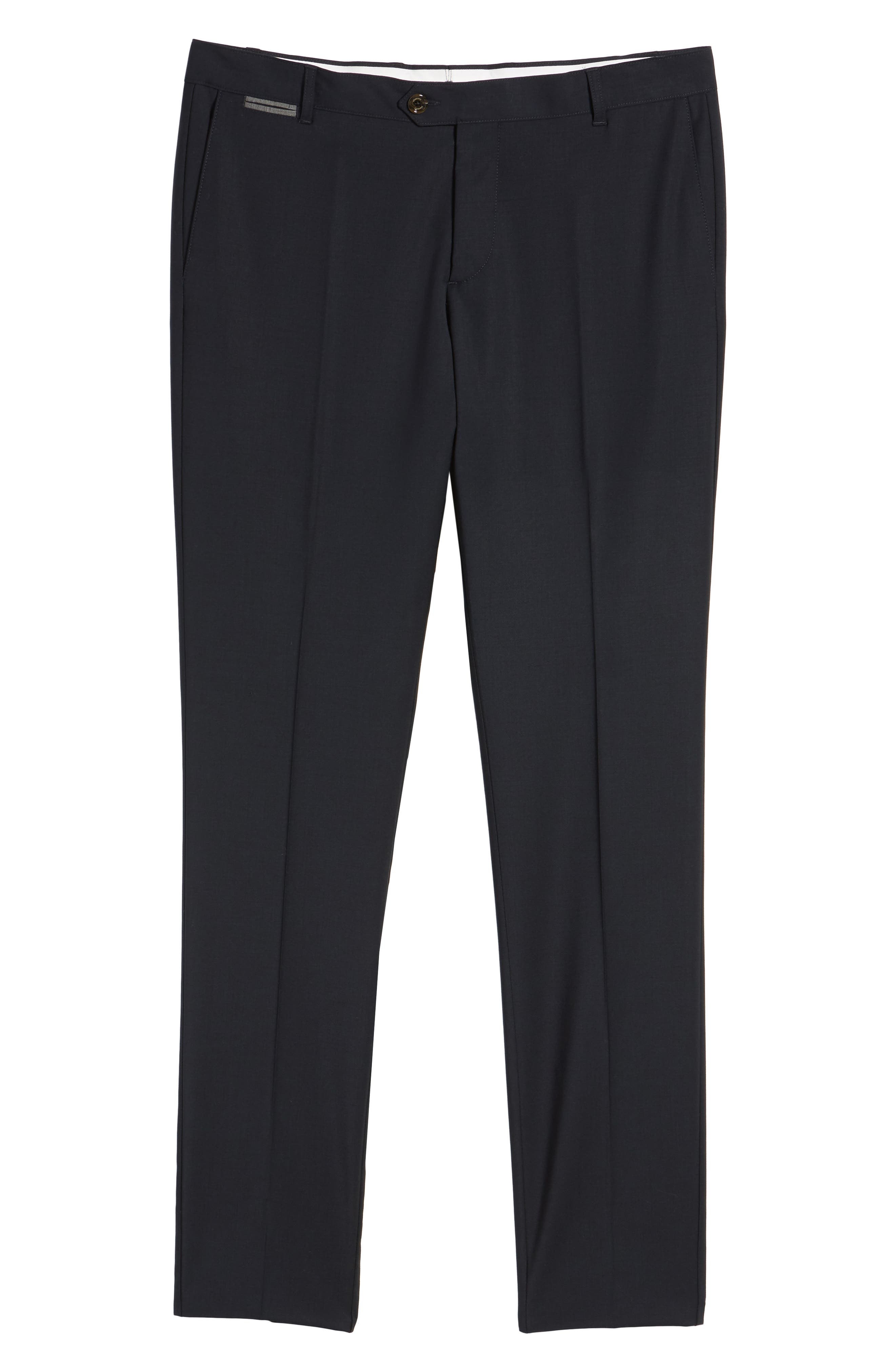 Flat Front Stretch Solid Wool Trousers,                             Alternate thumbnail 12, color,