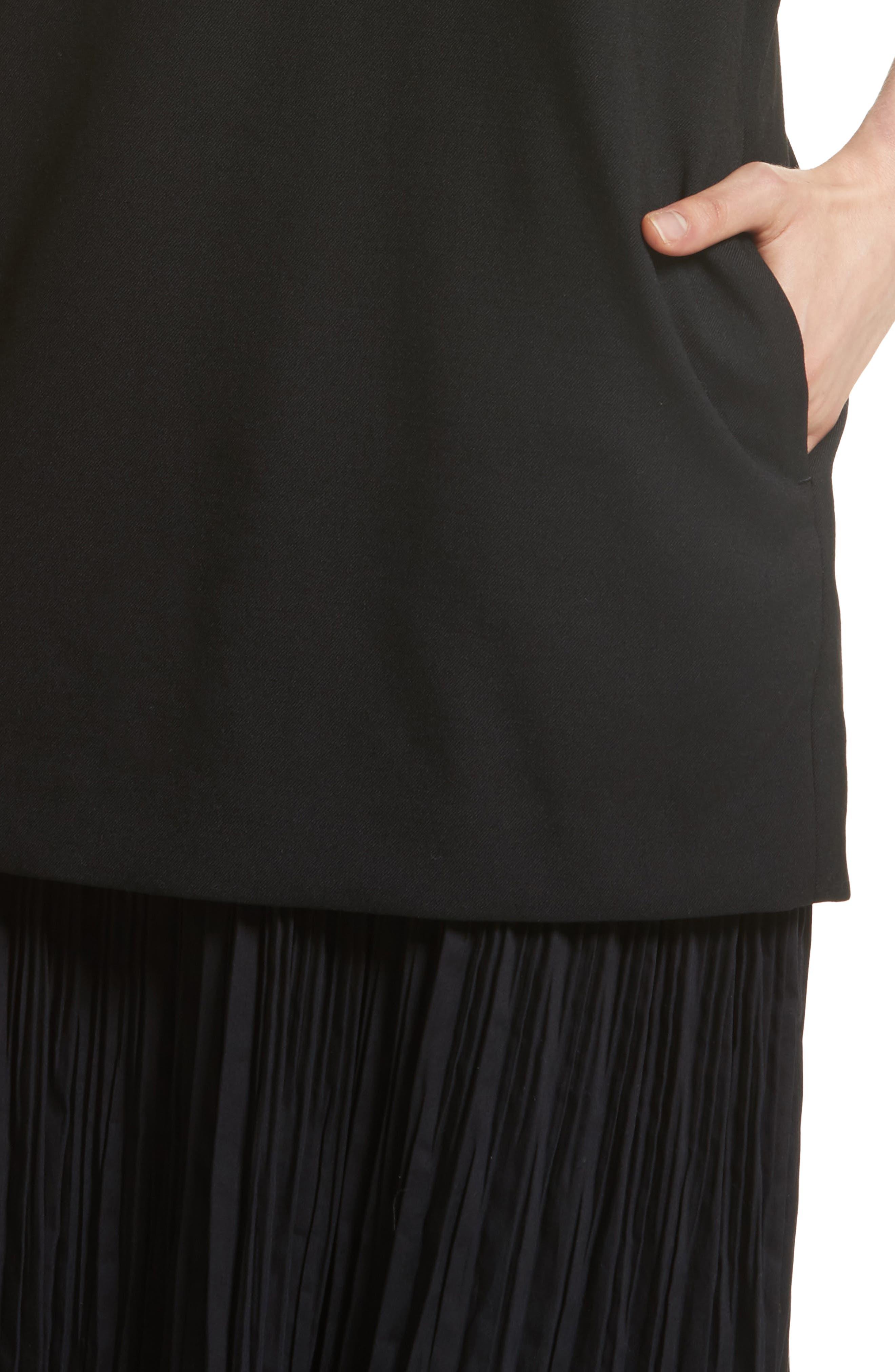 K Bottom Pleated Dress,                             Alternate thumbnail 4, color,                             001