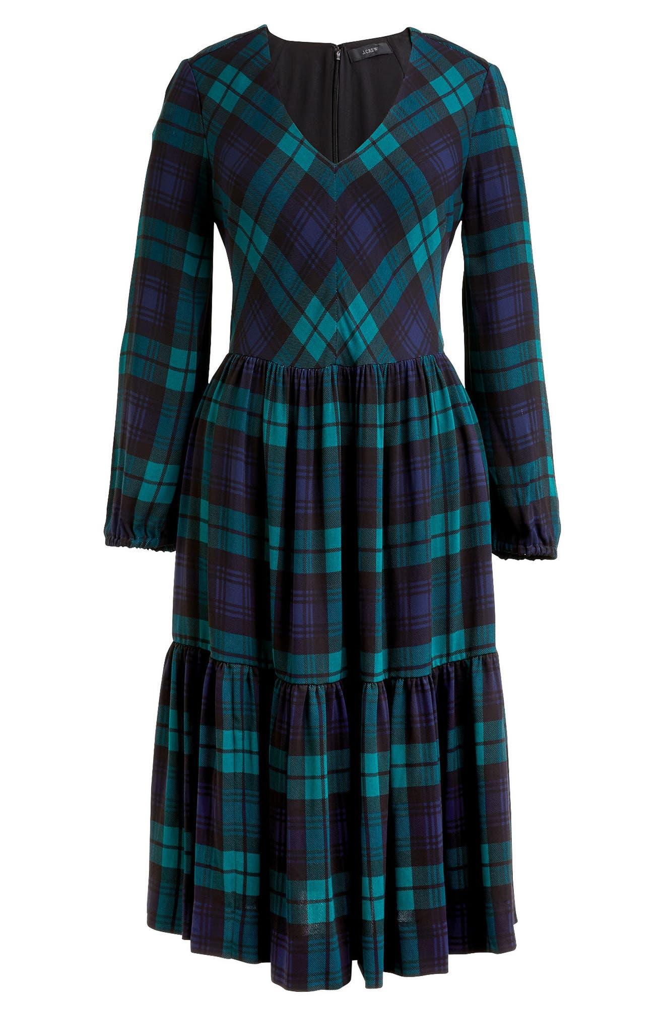 Drapey Dress in Black Watch Plaid,                             Alternate thumbnail 3, color,