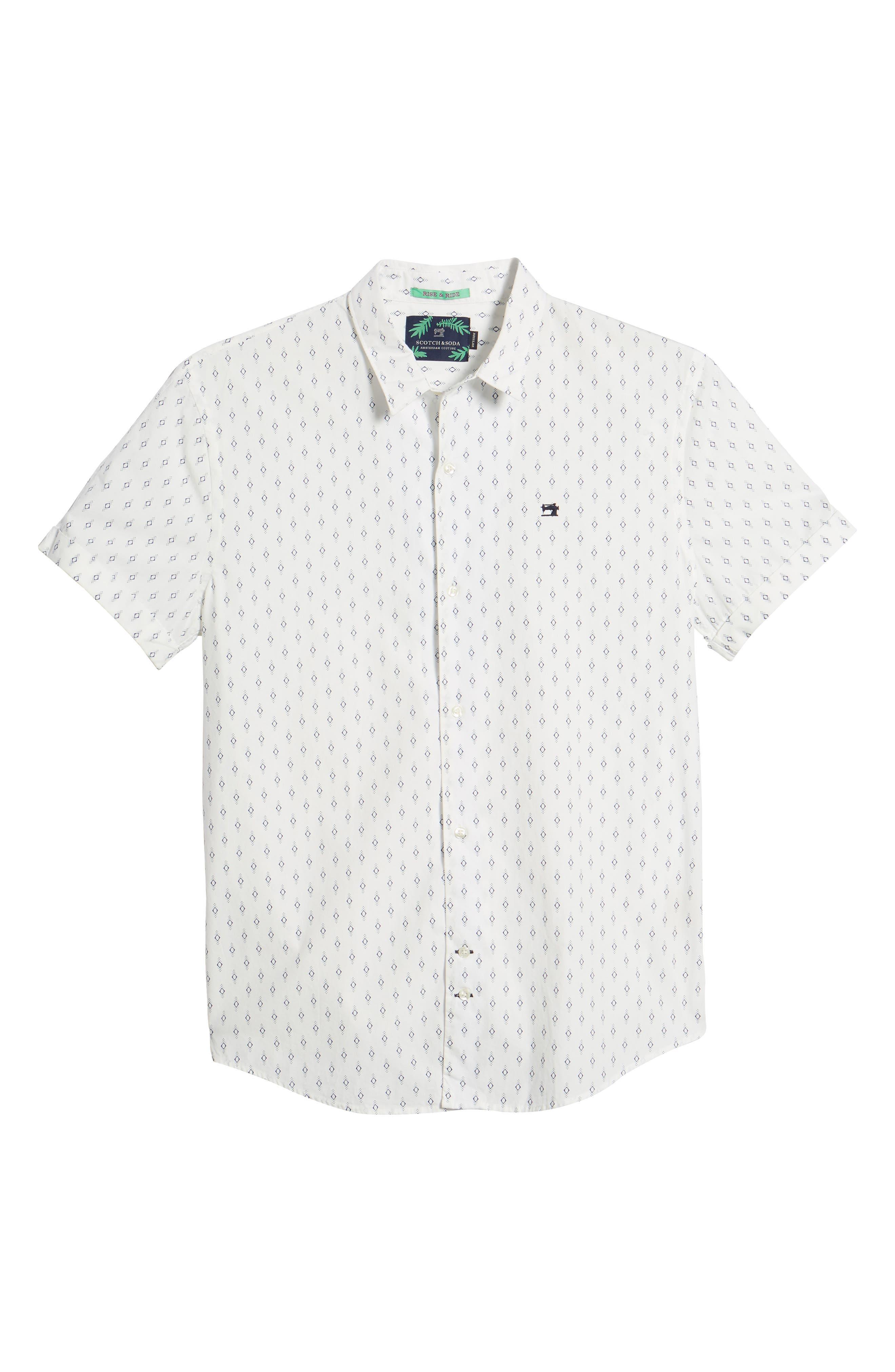 Classic Fit Print Woven Shirt,                             Alternate thumbnail 6, color,                             101