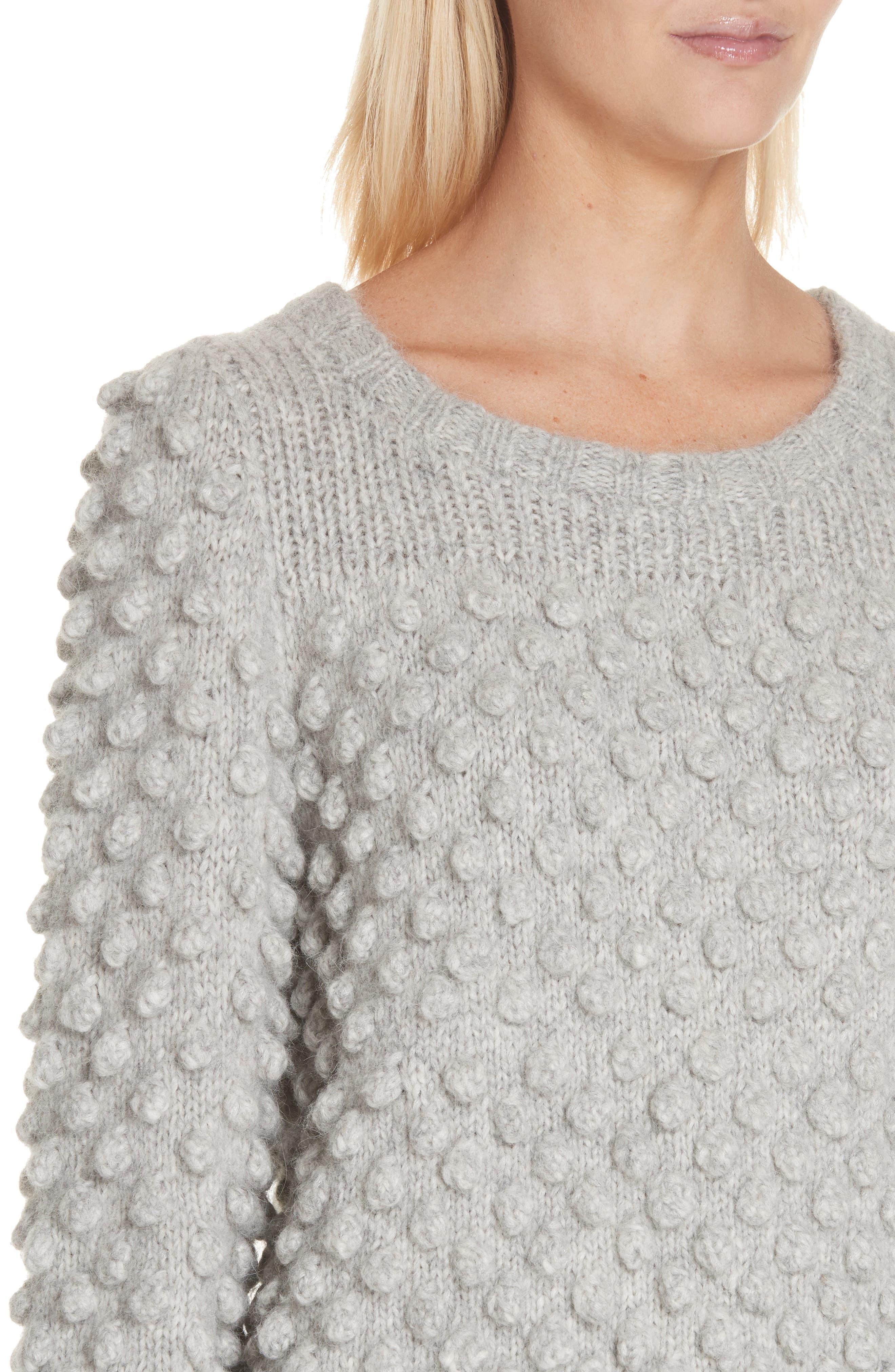 Camilla Baby Alpaca Blend Sweater,                             Alternate thumbnail 4, color,                             PALE MELANGE GREY
