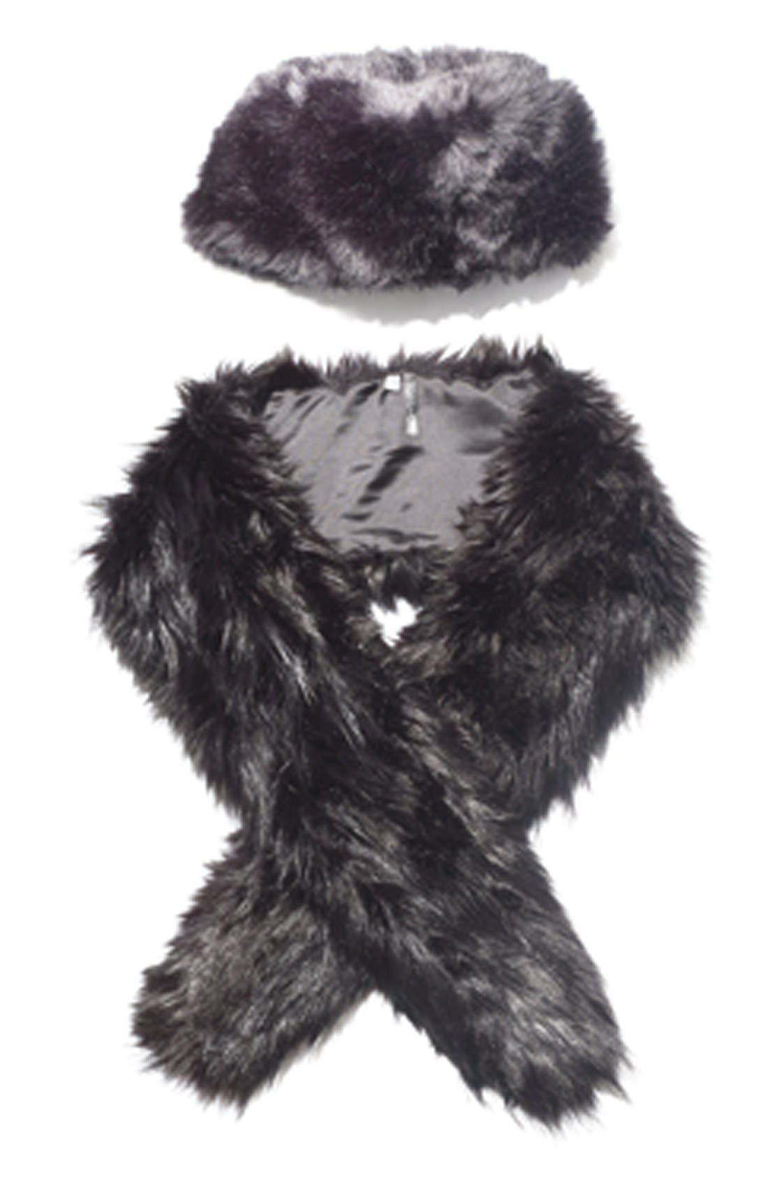 Faux Fur Stole,                             Alternate thumbnail 3, color,                             001