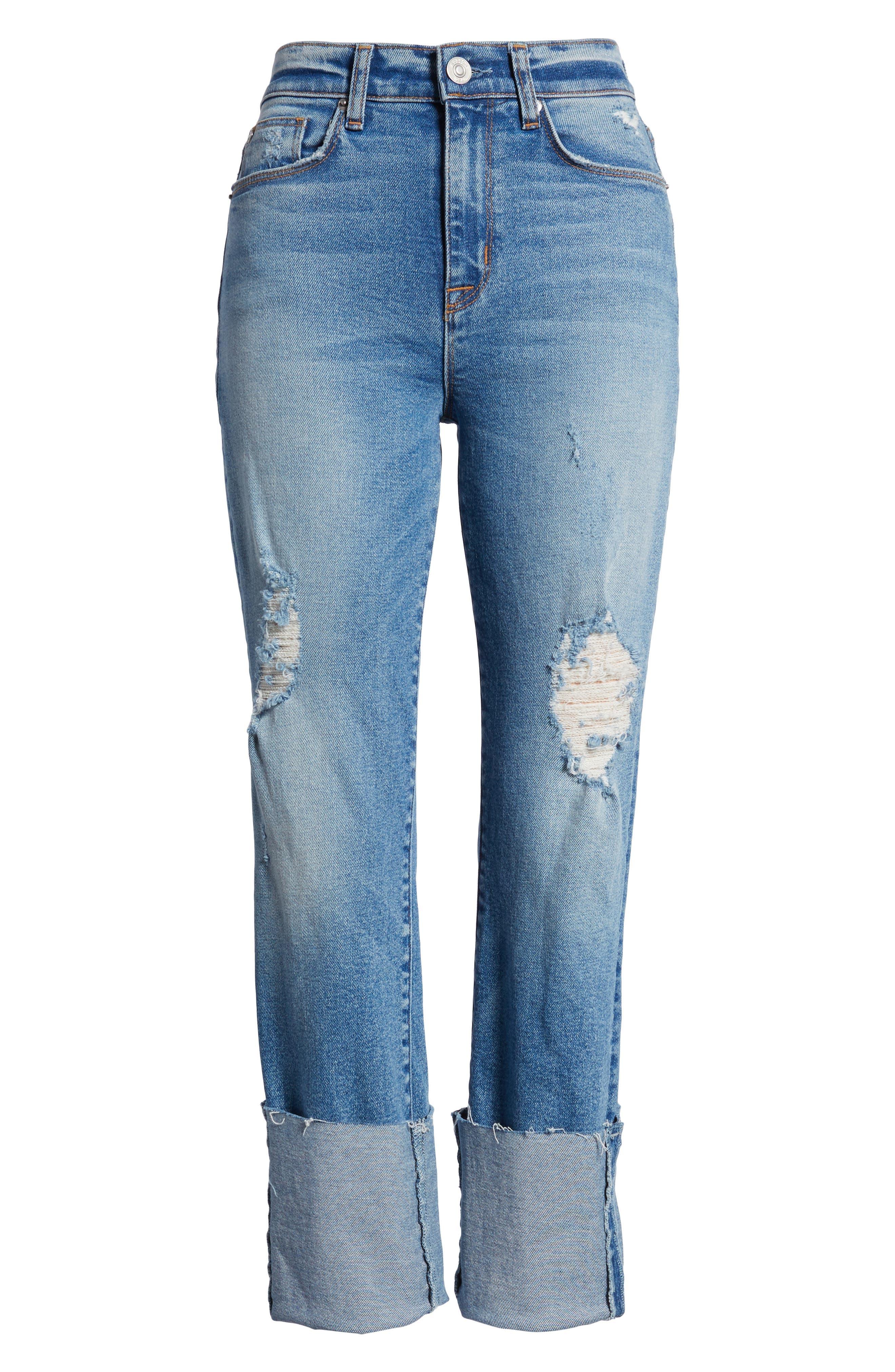 Zoeey High Waist Cuff Straight Leg Jeans,                             Alternate thumbnail 7, color,                             425