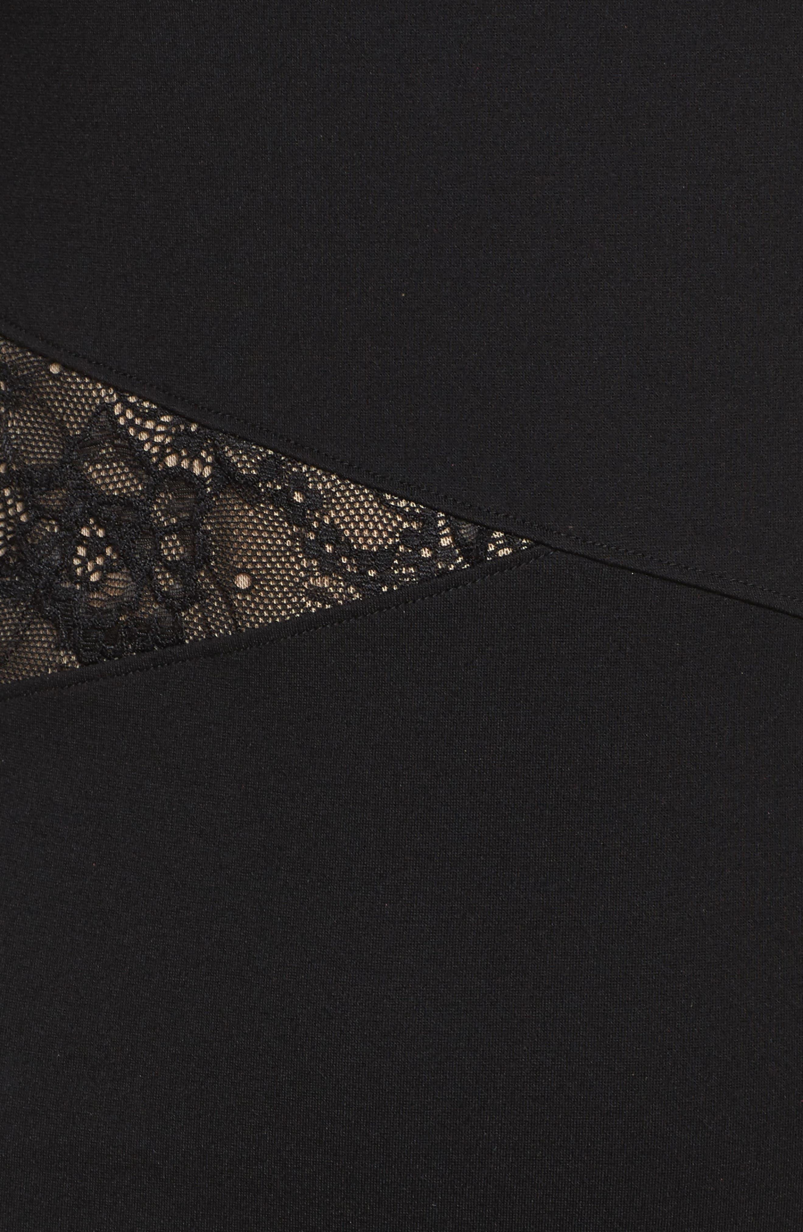 L'Arc Ponte Knit Fit & Flare Dress,                             Alternate thumbnail 5, color,                             001