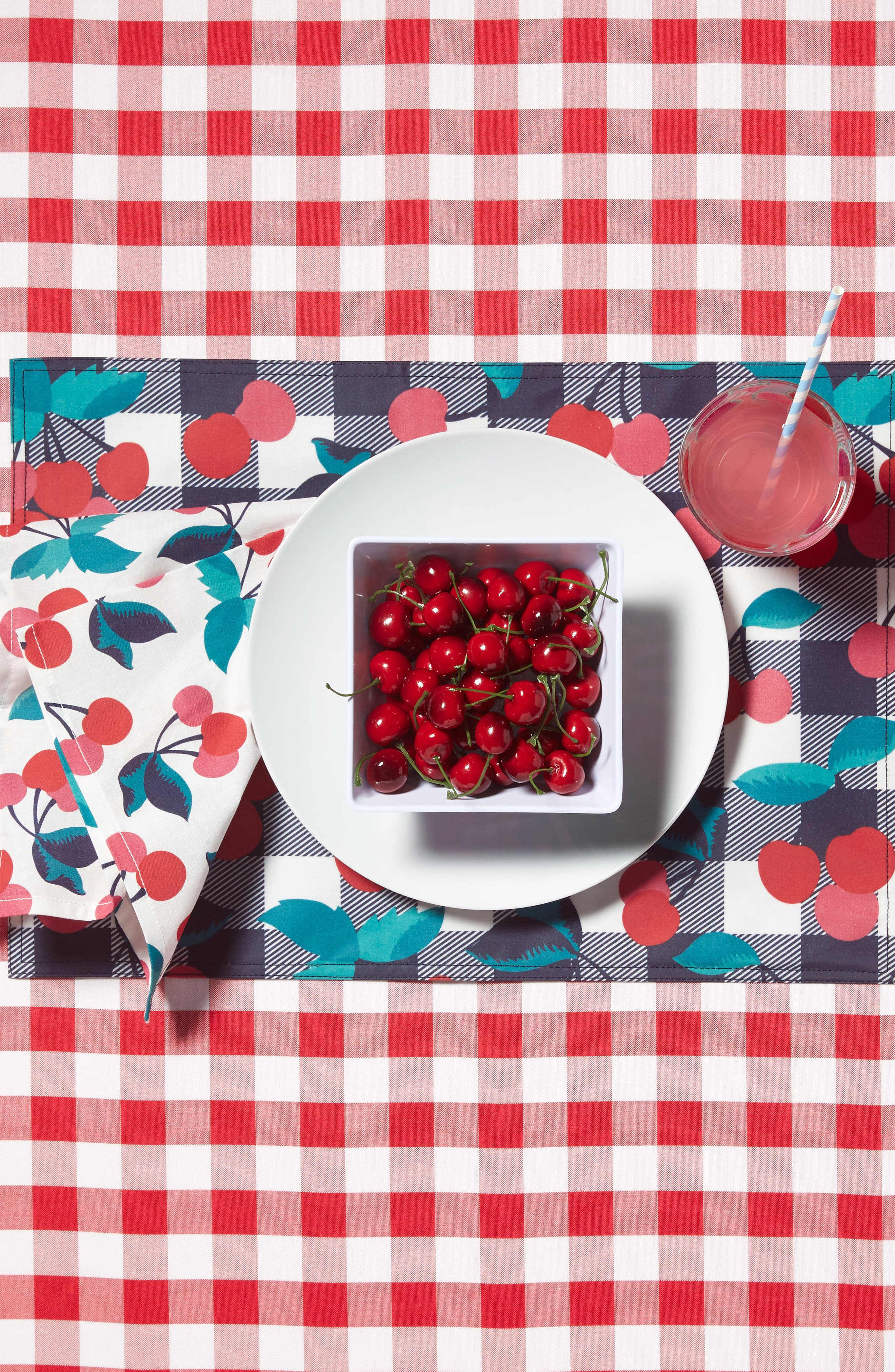 Set of 4 Cherry Print Placemats,                             Alternate thumbnail 2, color,                             600