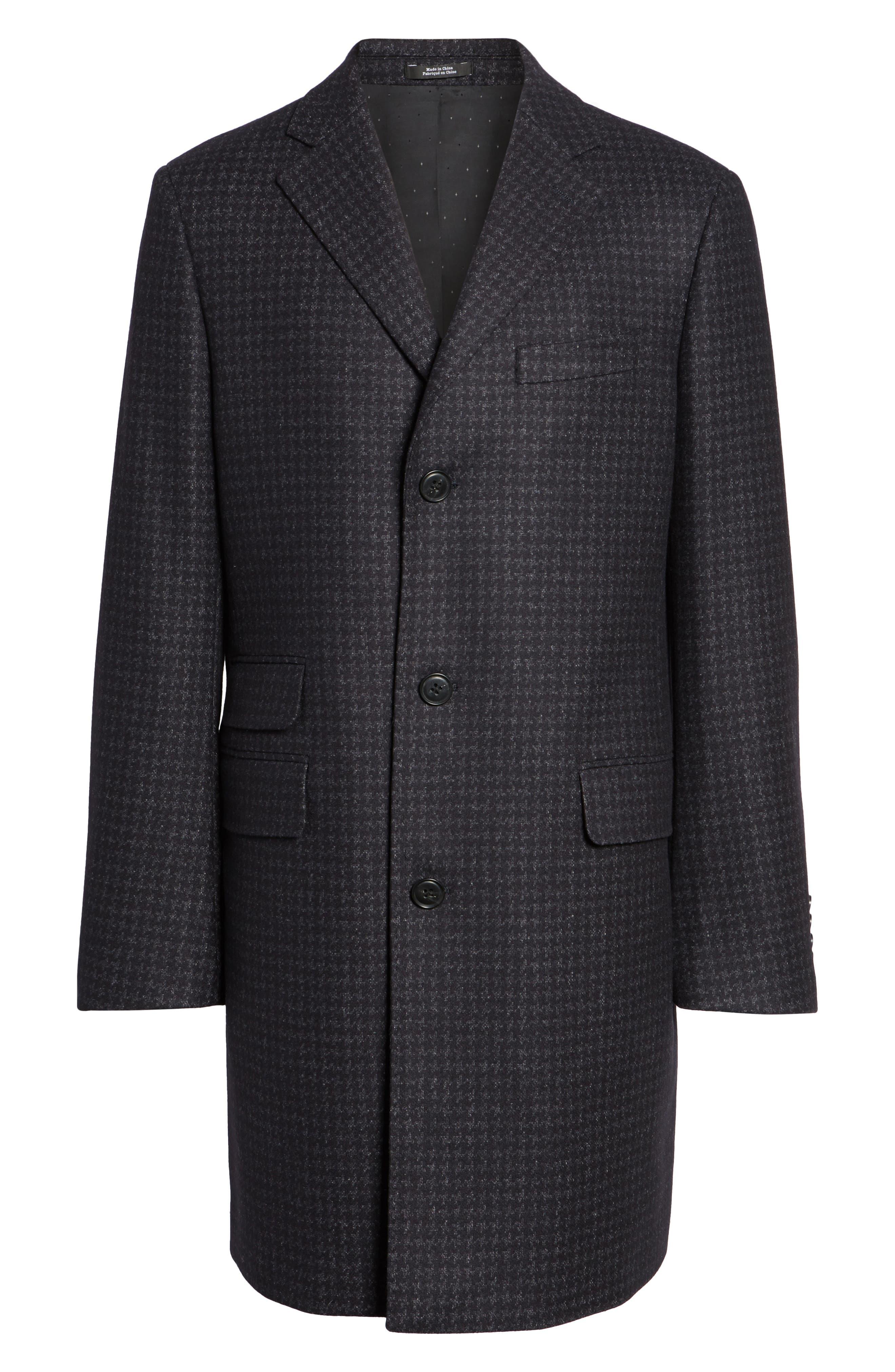 Jackson Houndstooth Wool Blend Overcoat,                             Alternate thumbnail 5, color,
