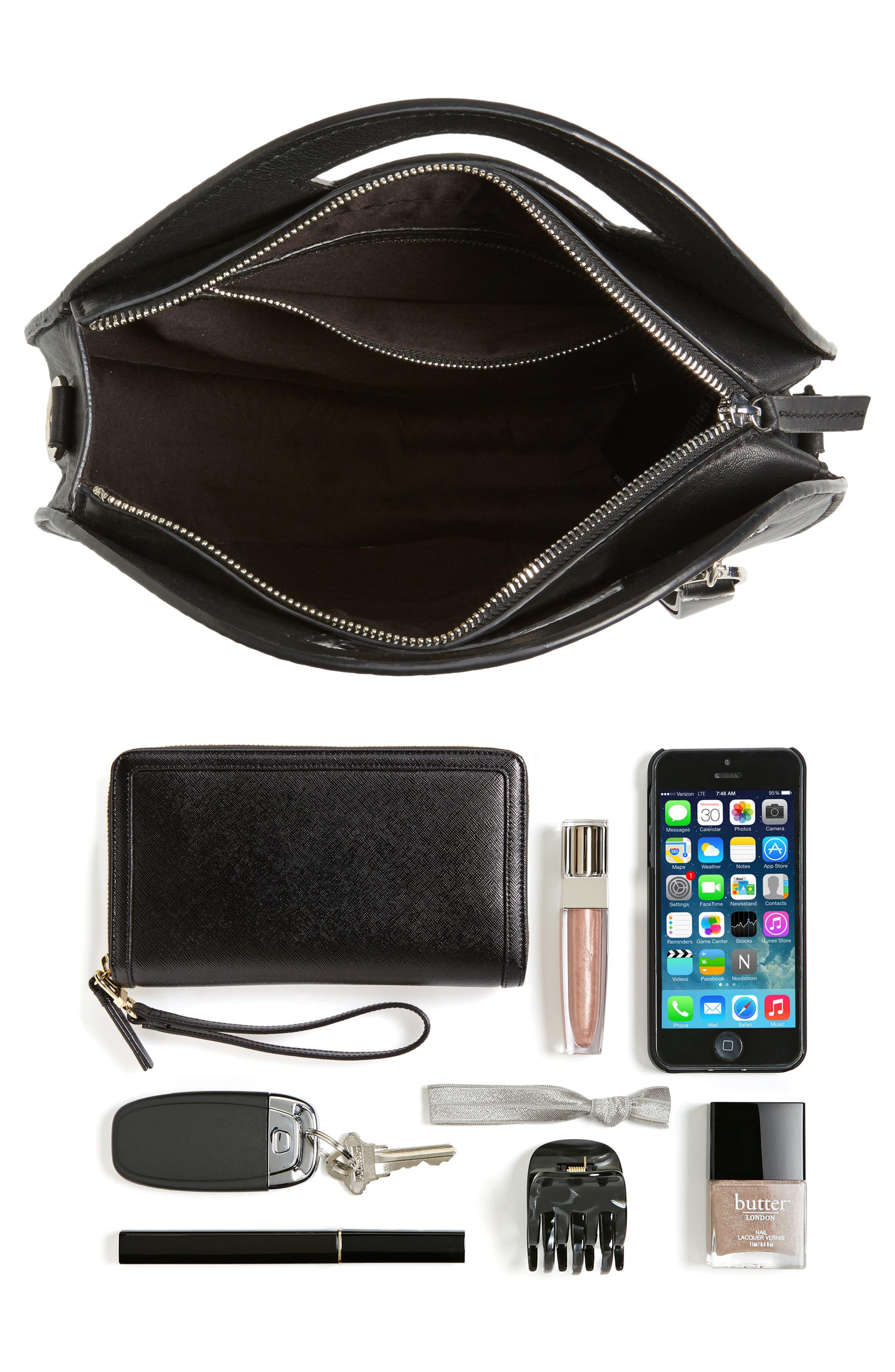 Premium Leather Circle Crossbody Bag,                             Alternate thumbnail 7, color,                             001