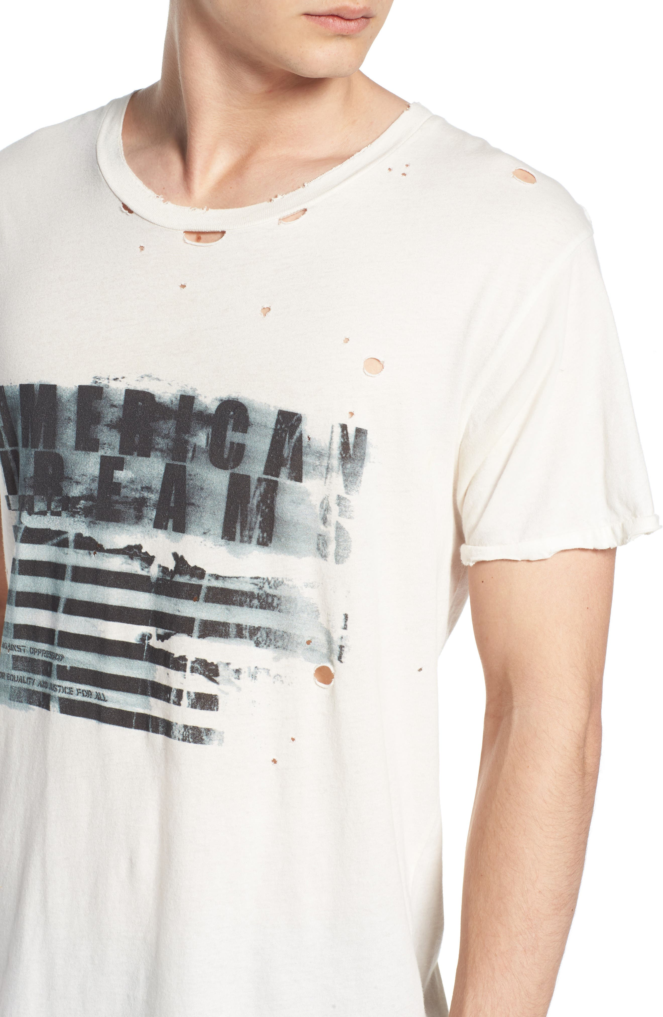 American Dreams Distressed Graphic T-Shirt,                             Alternate thumbnail 4, color,                             WHITE