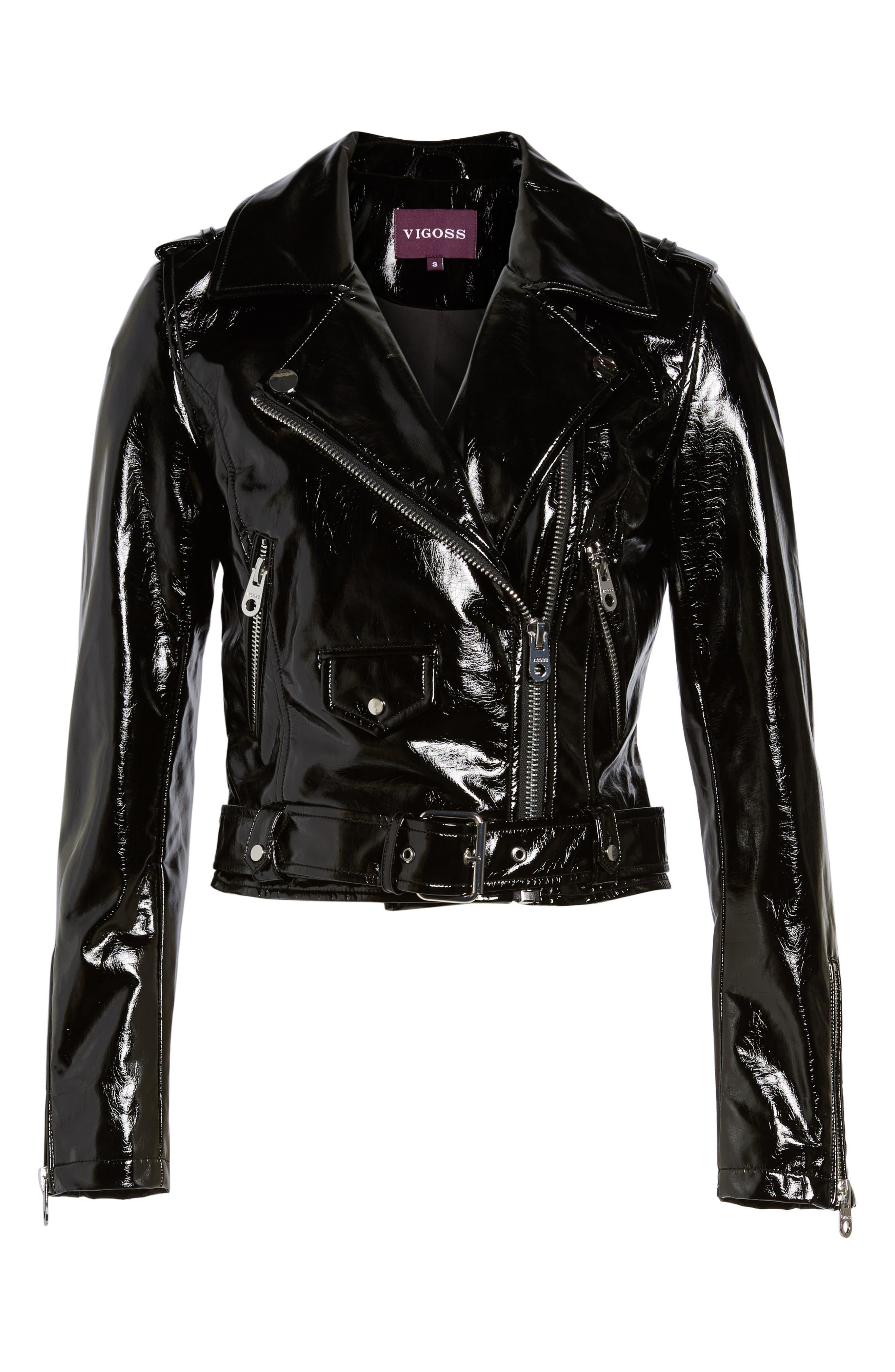 VIGOSS,                             Faux Patent Leather Biker Jacket,                             Alternate thumbnail 5, color,                             001