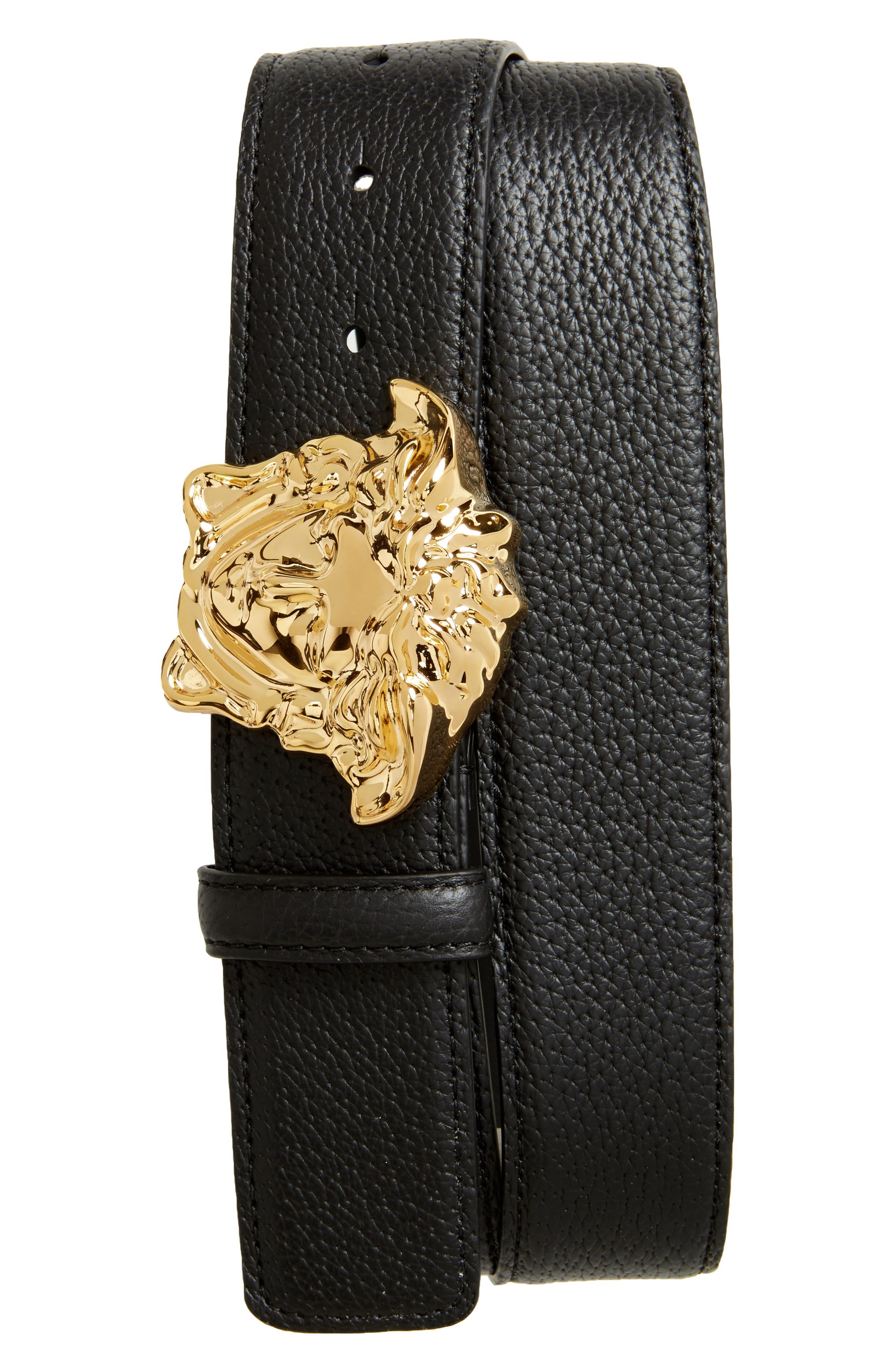 Medusa Head Leather Belt,                         Main,                         color, 001