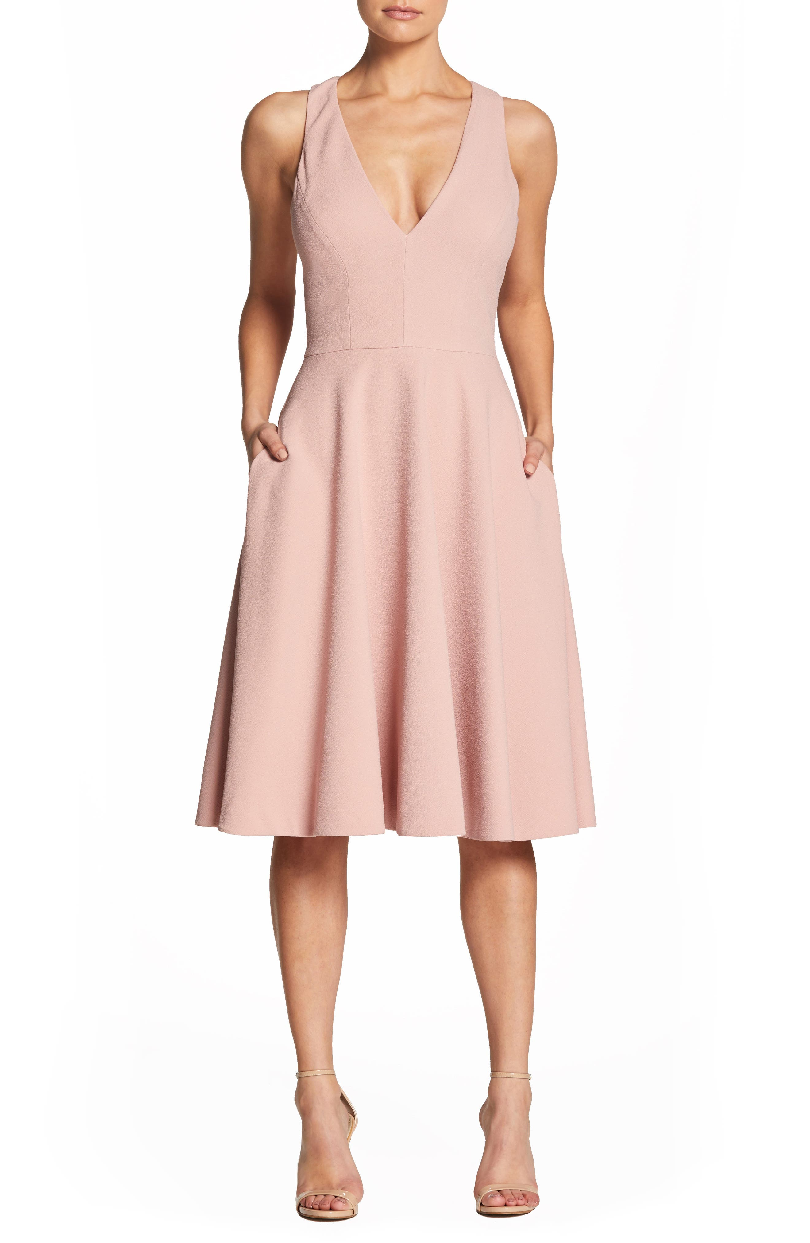 Dress The Population Catalina Tea Length Fit & Flare Dress, Pink