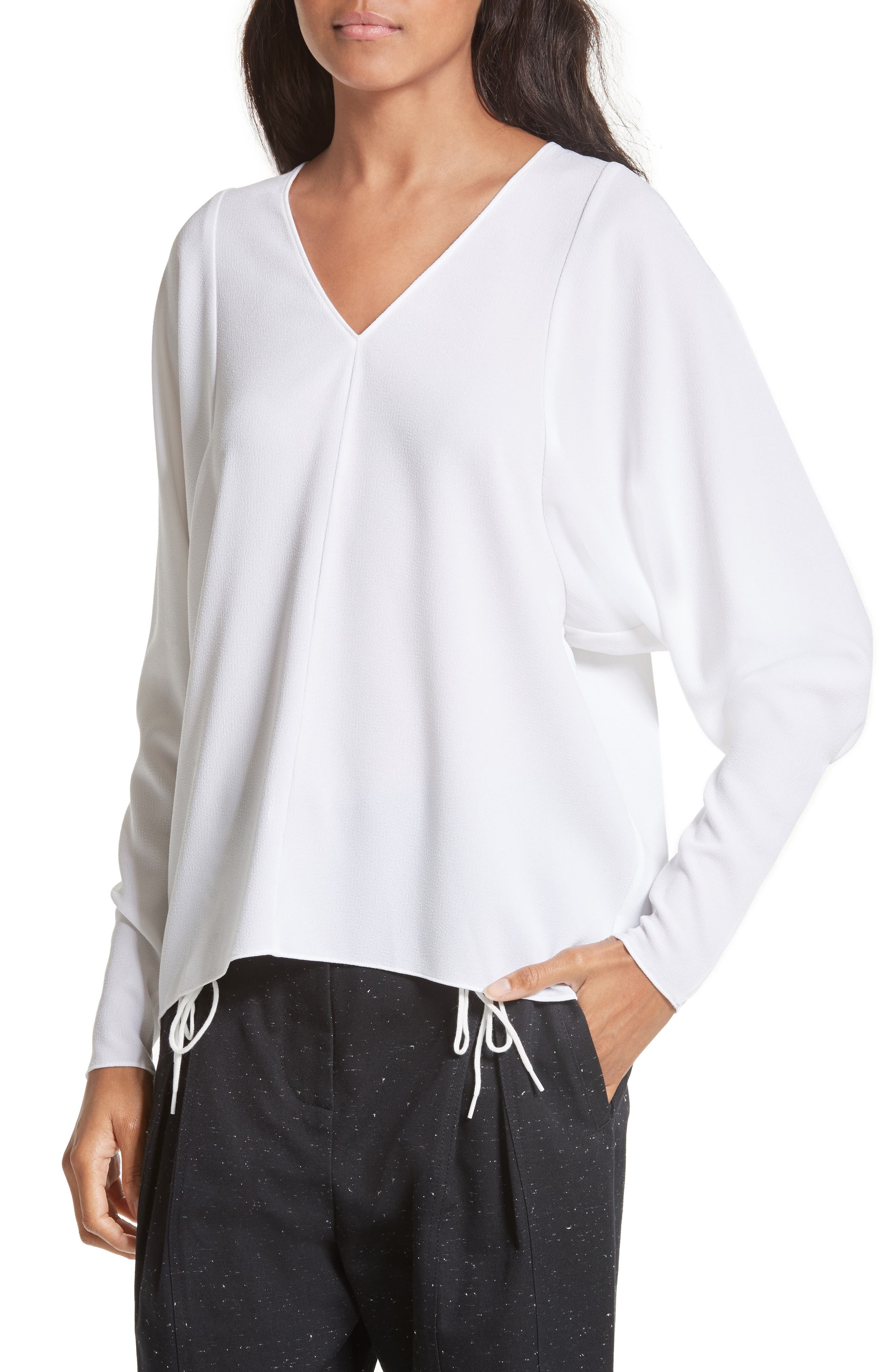 Dolman Sleeve Crepe Top,                             Alternate thumbnail 4, color,                             100