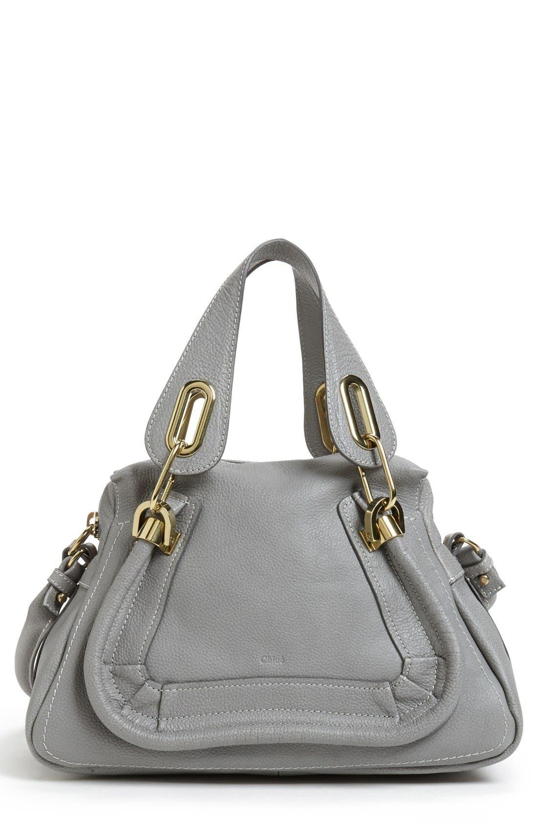 CHLOÉ 'Paraty - Small' Leather Satchel, Main, color, 020