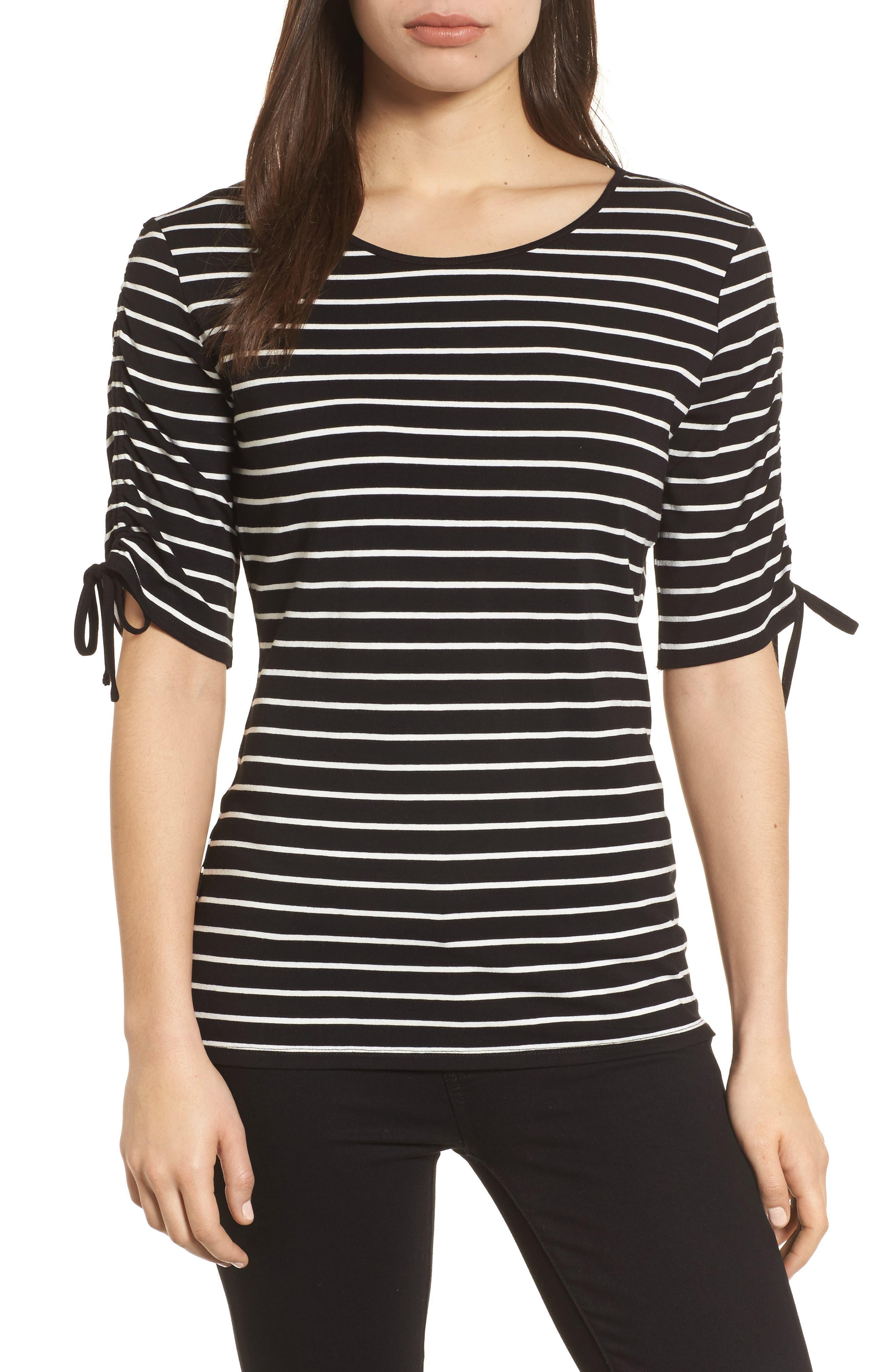 Drawstring Sleeve Stripe Top,                         Main,                         color, 006