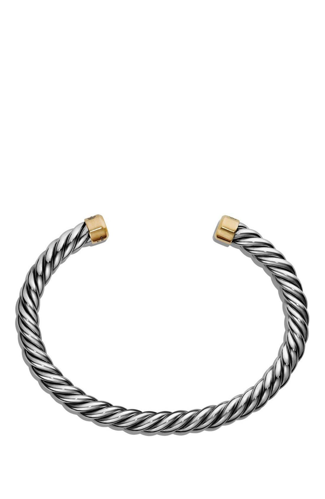 'Cable Classics' Cuff Bracelet with 18K Gold,                             Alternate thumbnail 3, color,                             SILVER/ GOLD
