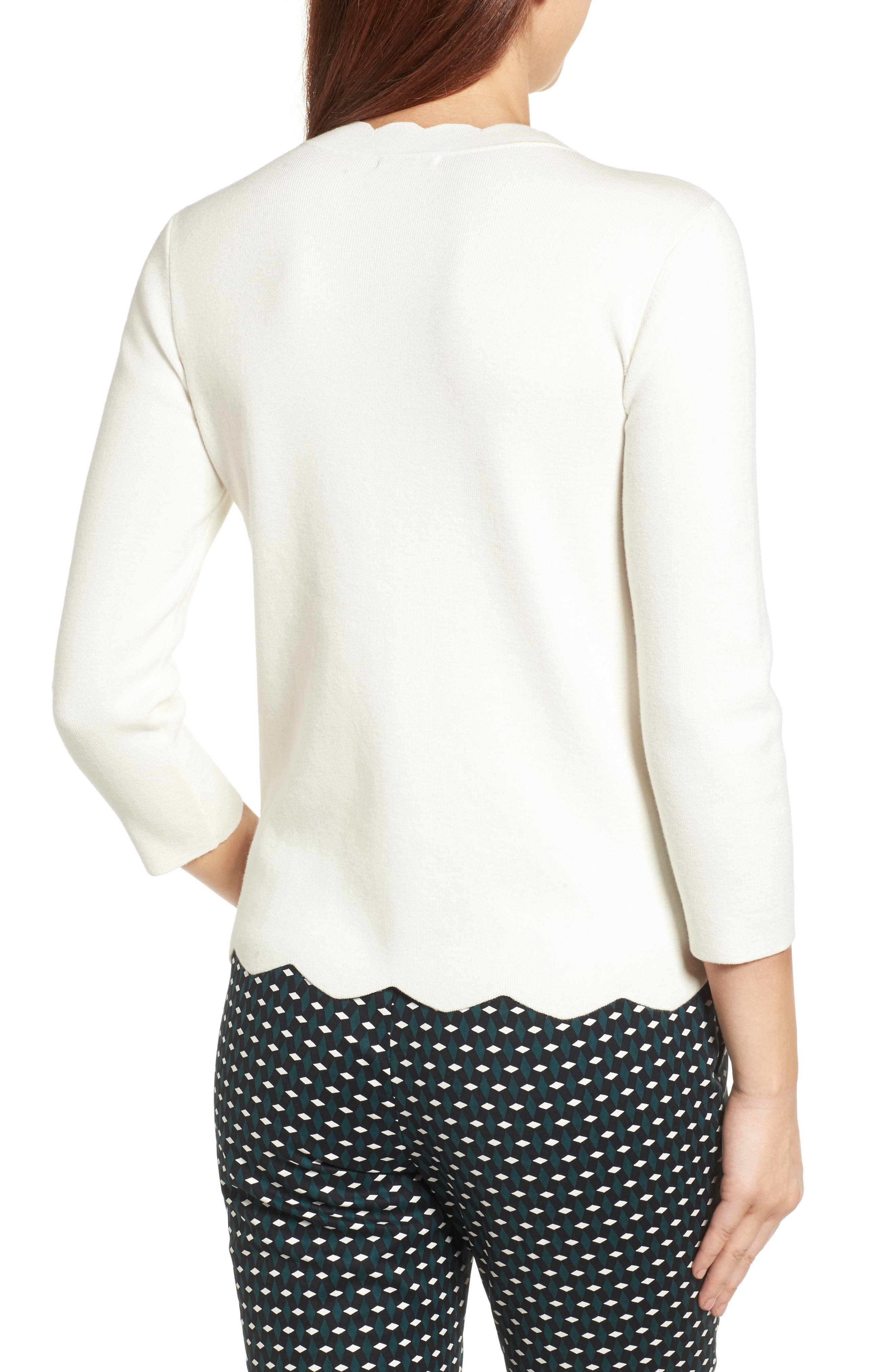 Halogen Scallop Edge Sweater,                             Alternate thumbnail 22, color,