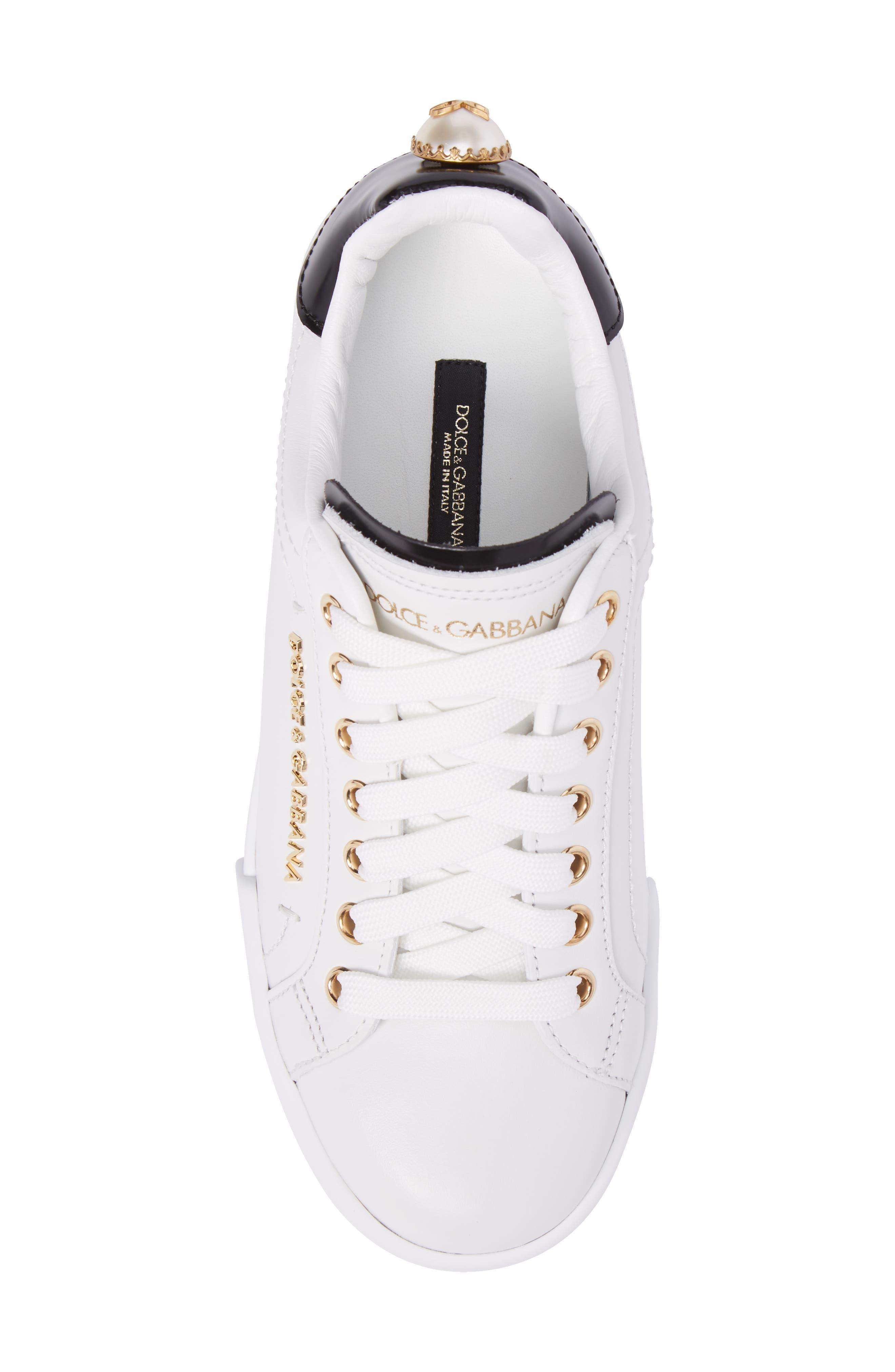 Logo Embellished Sneaker,                             Alternate thumbnail 5, color,                             WHITE/ GOLD