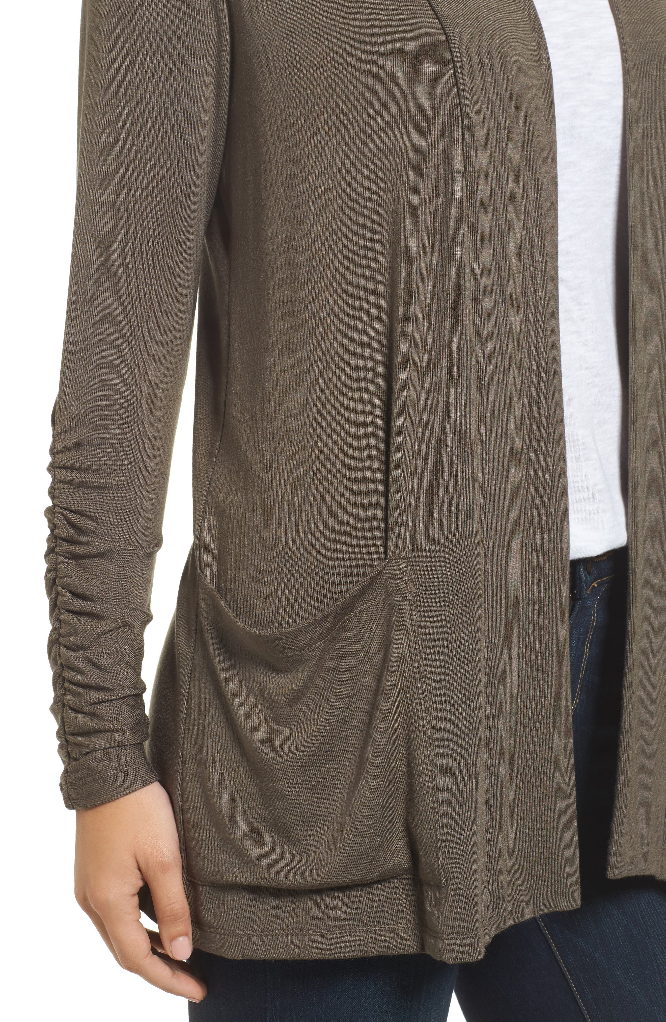 Ruched Sleeve Cardigan,                             Alternate thumbnail 4, color,                             OLIVE