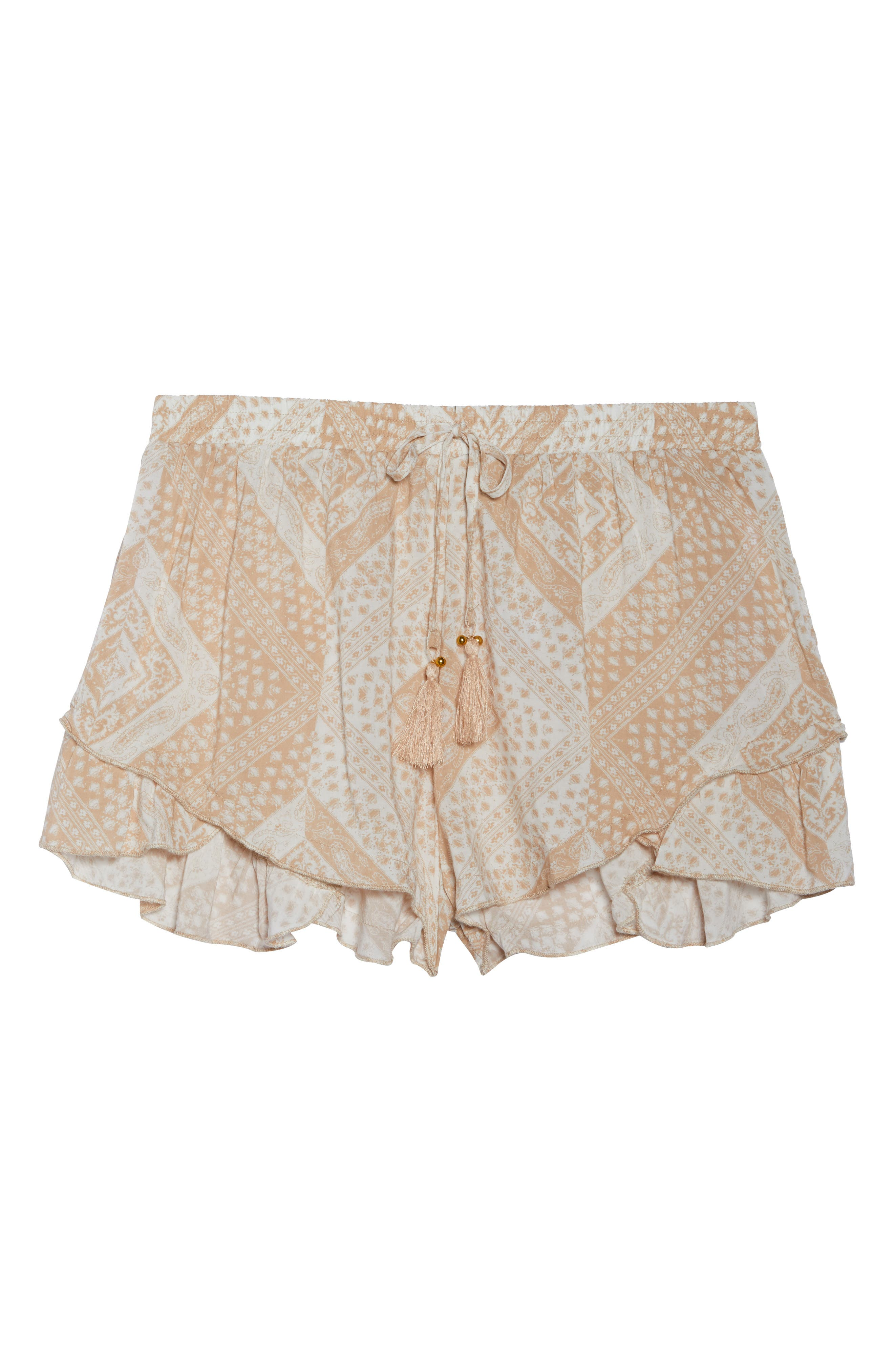 Tassel Trim Cover-Up Shorts,                             Alternate thumbnail 6, color,                             TAN SCARF