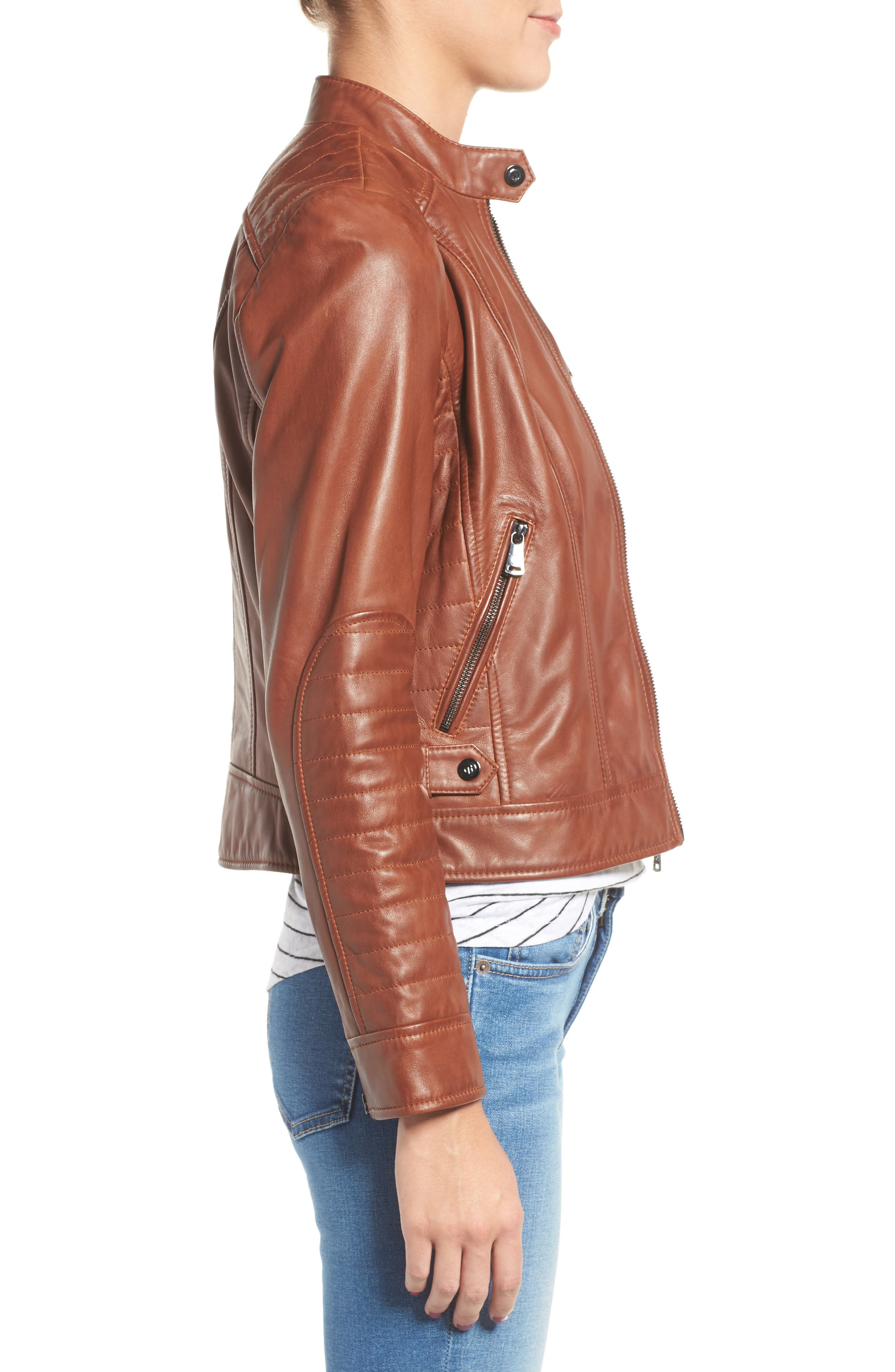 Quilted Leather Moto Jacket,                             Alternate thumbnail 3, color,                             219