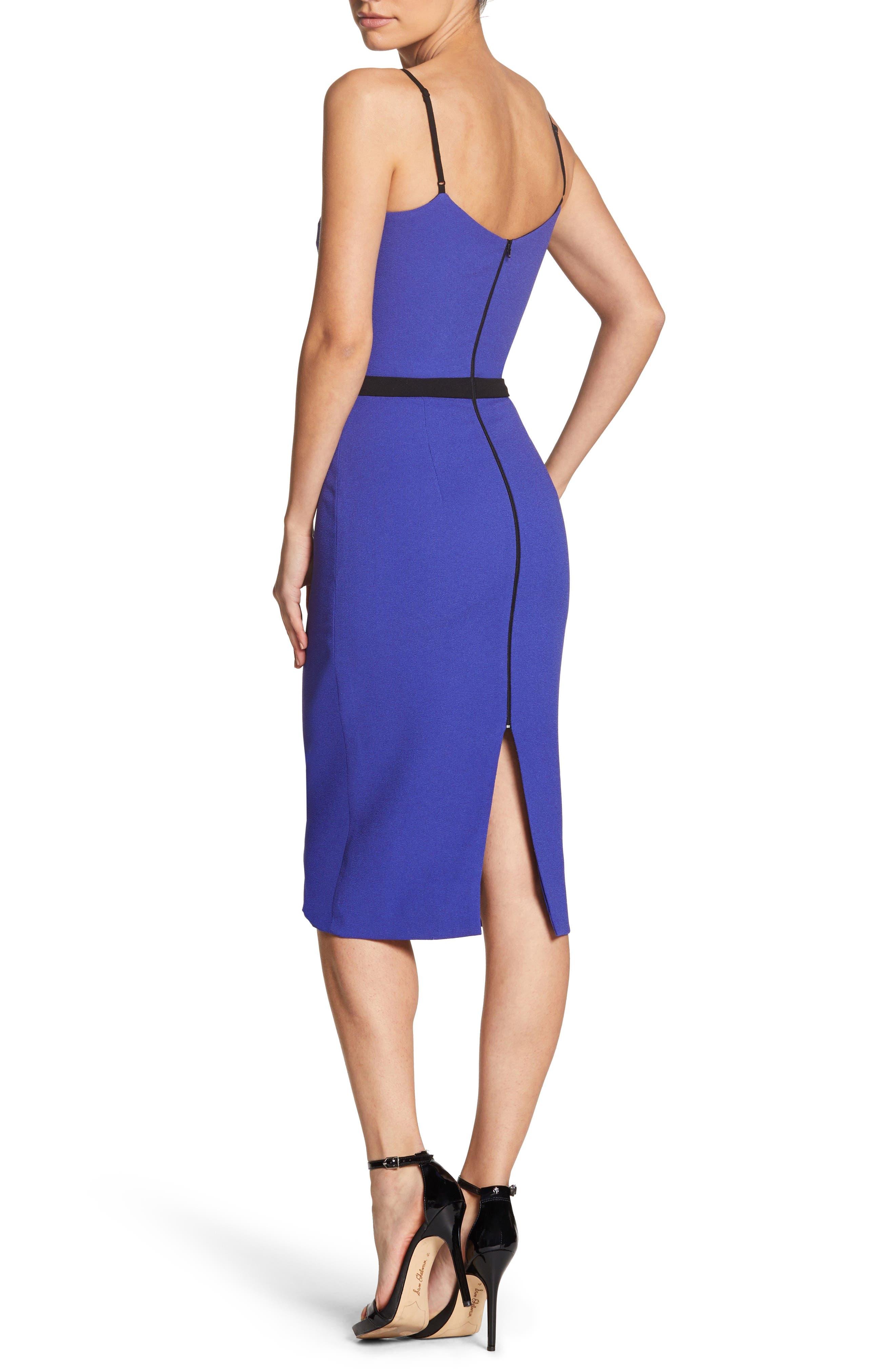 Emma Spaghetti Strap Body-Con Dress,                             Alternate thumbnail 2, color,                             BLUE/ VIOLET
