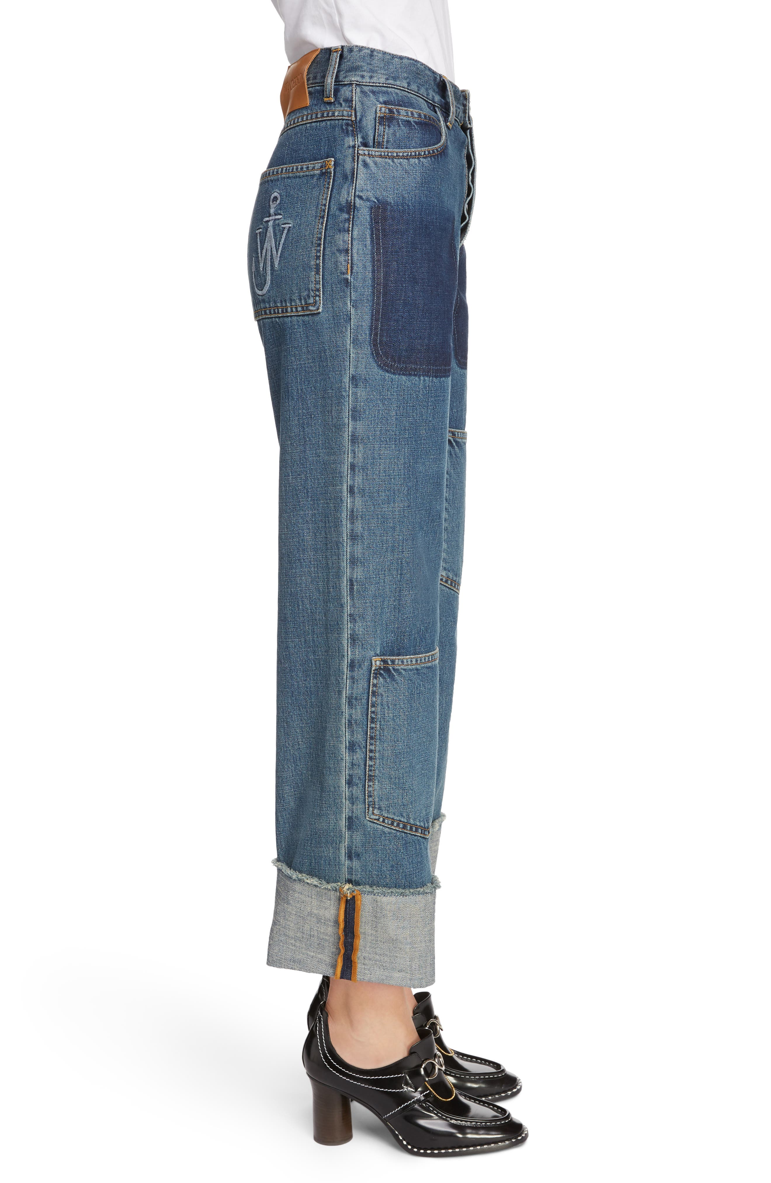 Shaded Pocket Wide Leg Ankle Jeans,                             Alternate thumbnail 3, color,                             MID BLUE