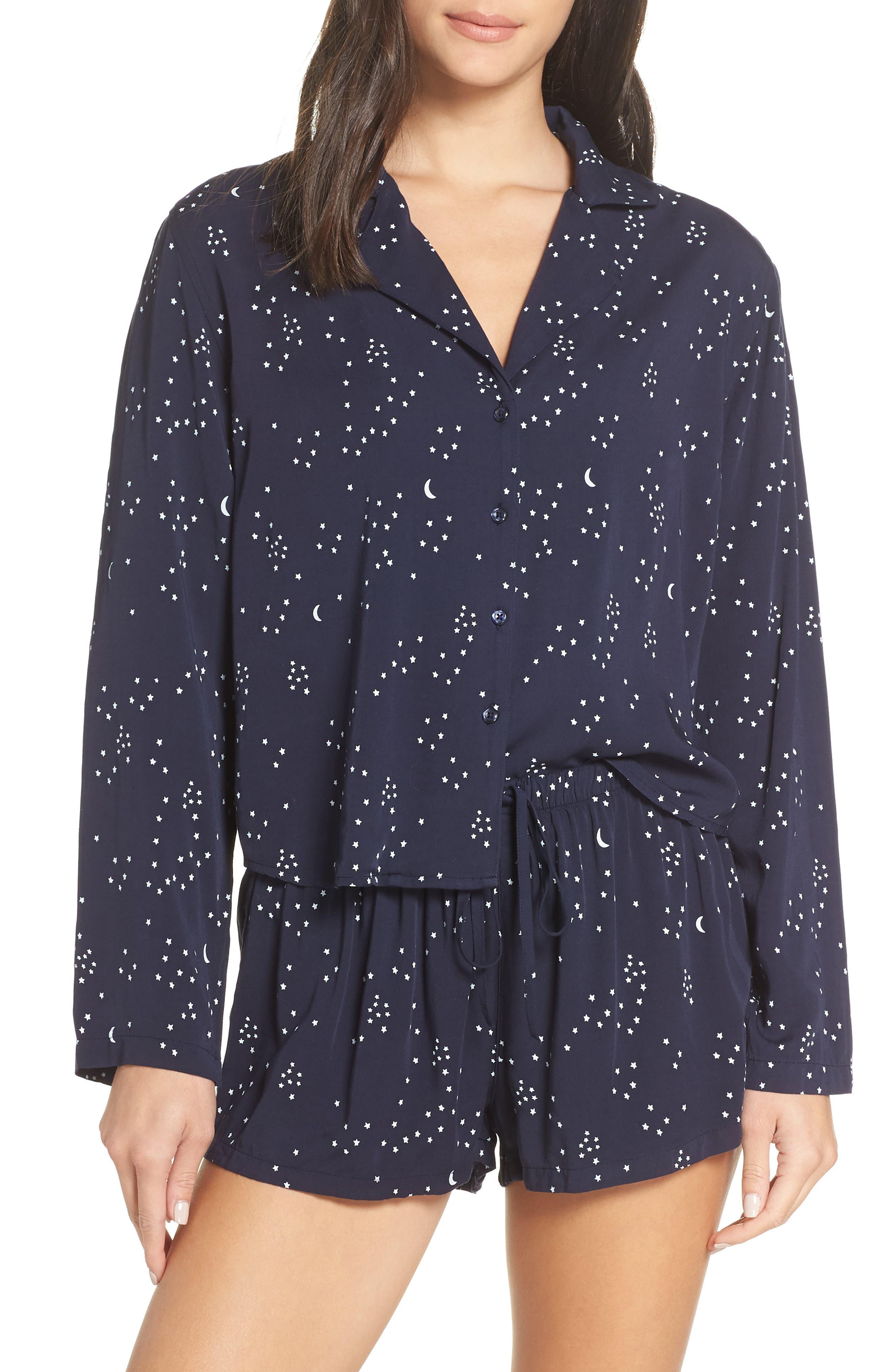 Print Short Pajamas,                         Main,                         color, NAVY GALAXY