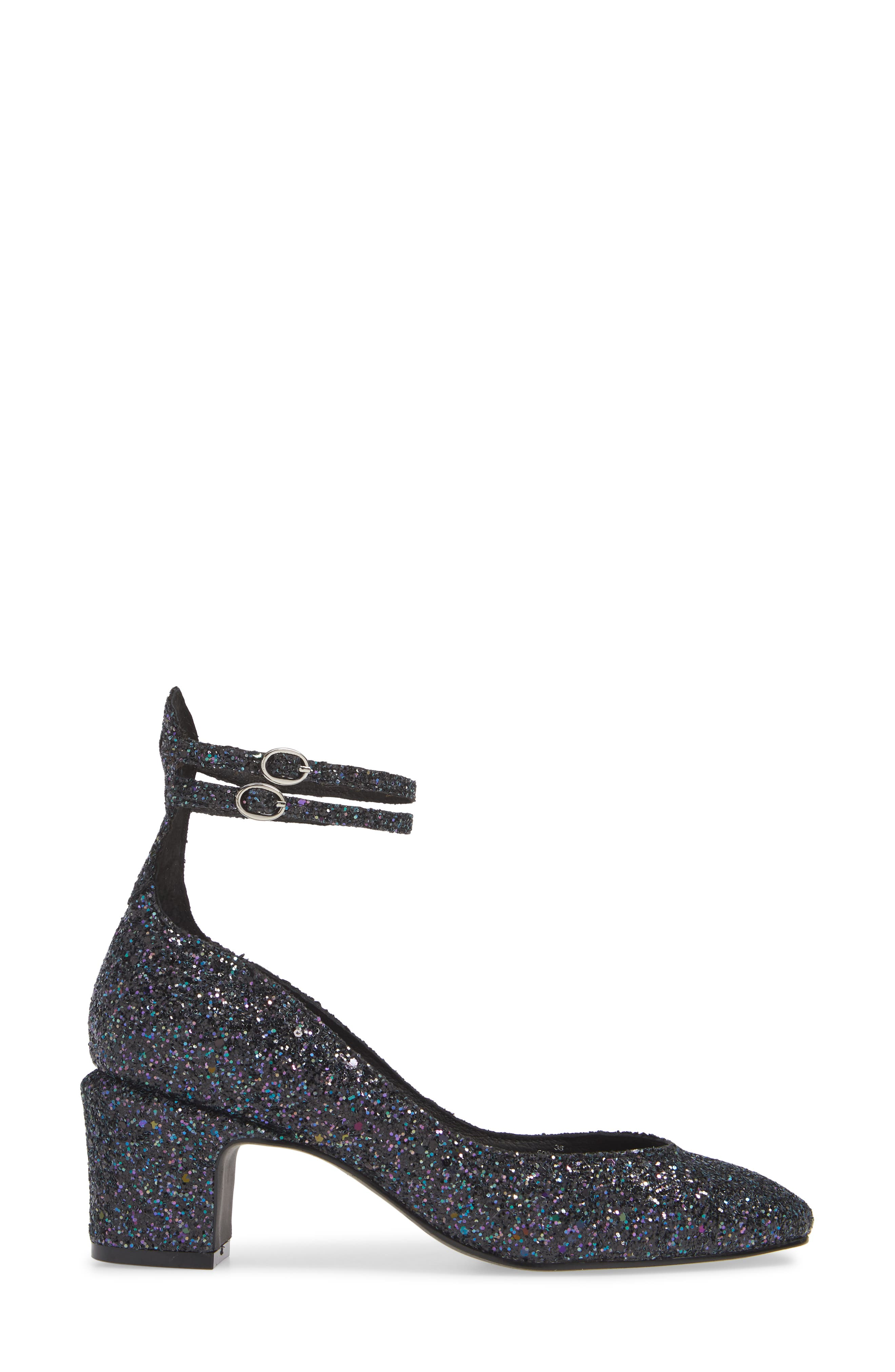 Lana Ankle Strap Pump,                             Alternate thumbnail 3, color,                             NAVY GLITTER PATENT LEATHER