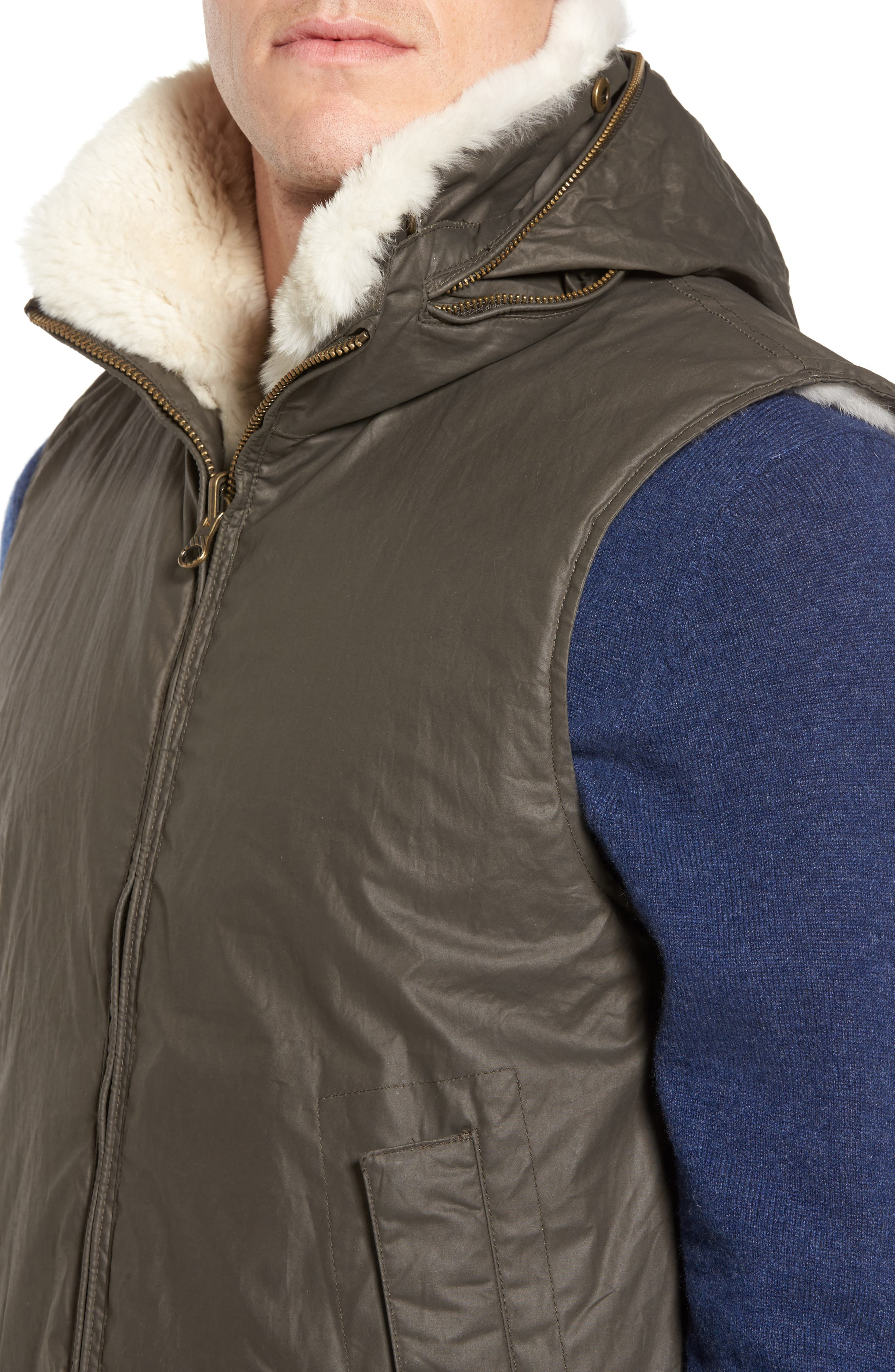 Water-Resistant Genuine Rabbit Fur Lined Vest,                             Alternate thumbnail 4, color,