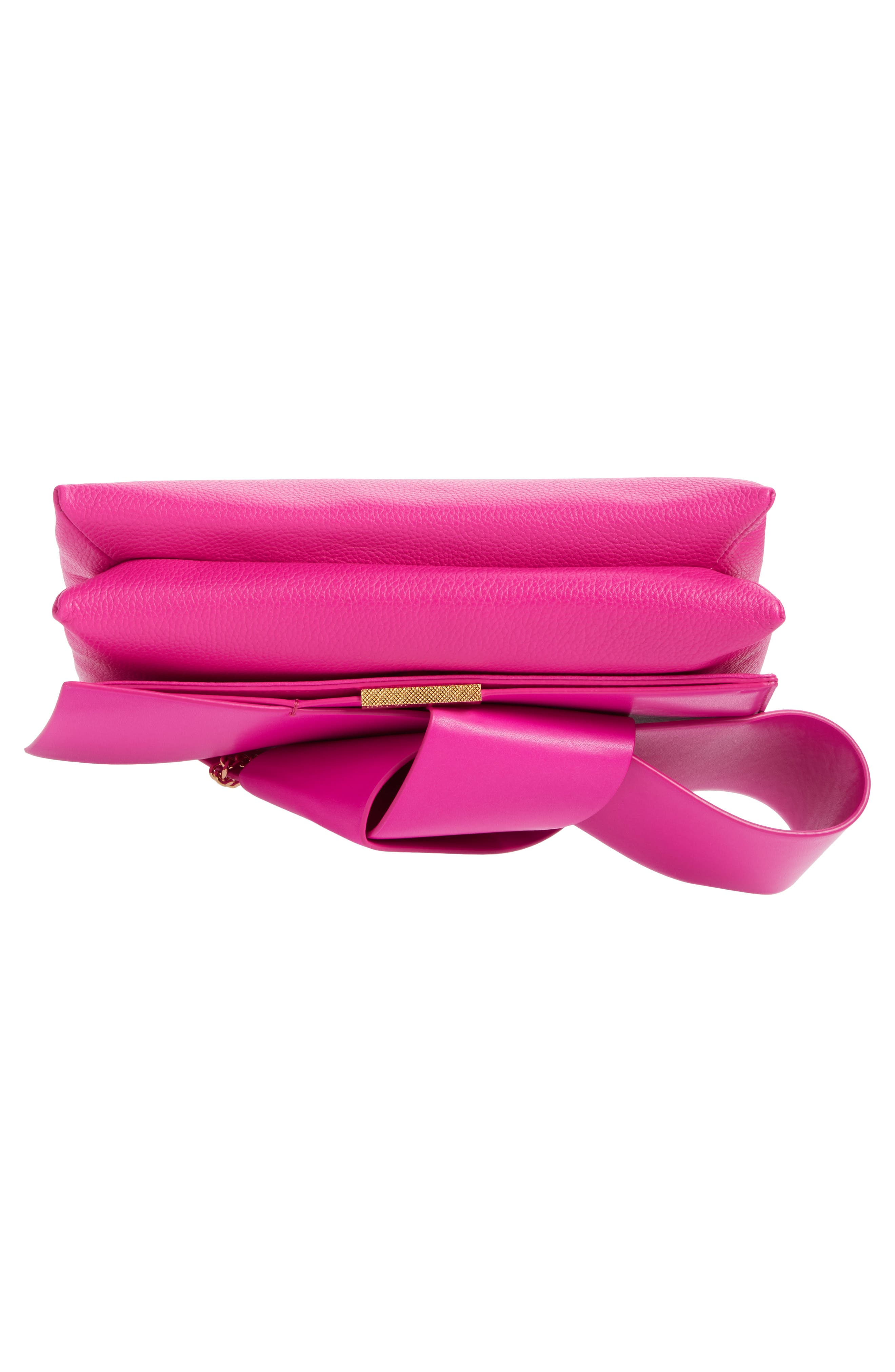 Knotted Bow Leather Clutch,                             Alternate thumbnail 26, color,