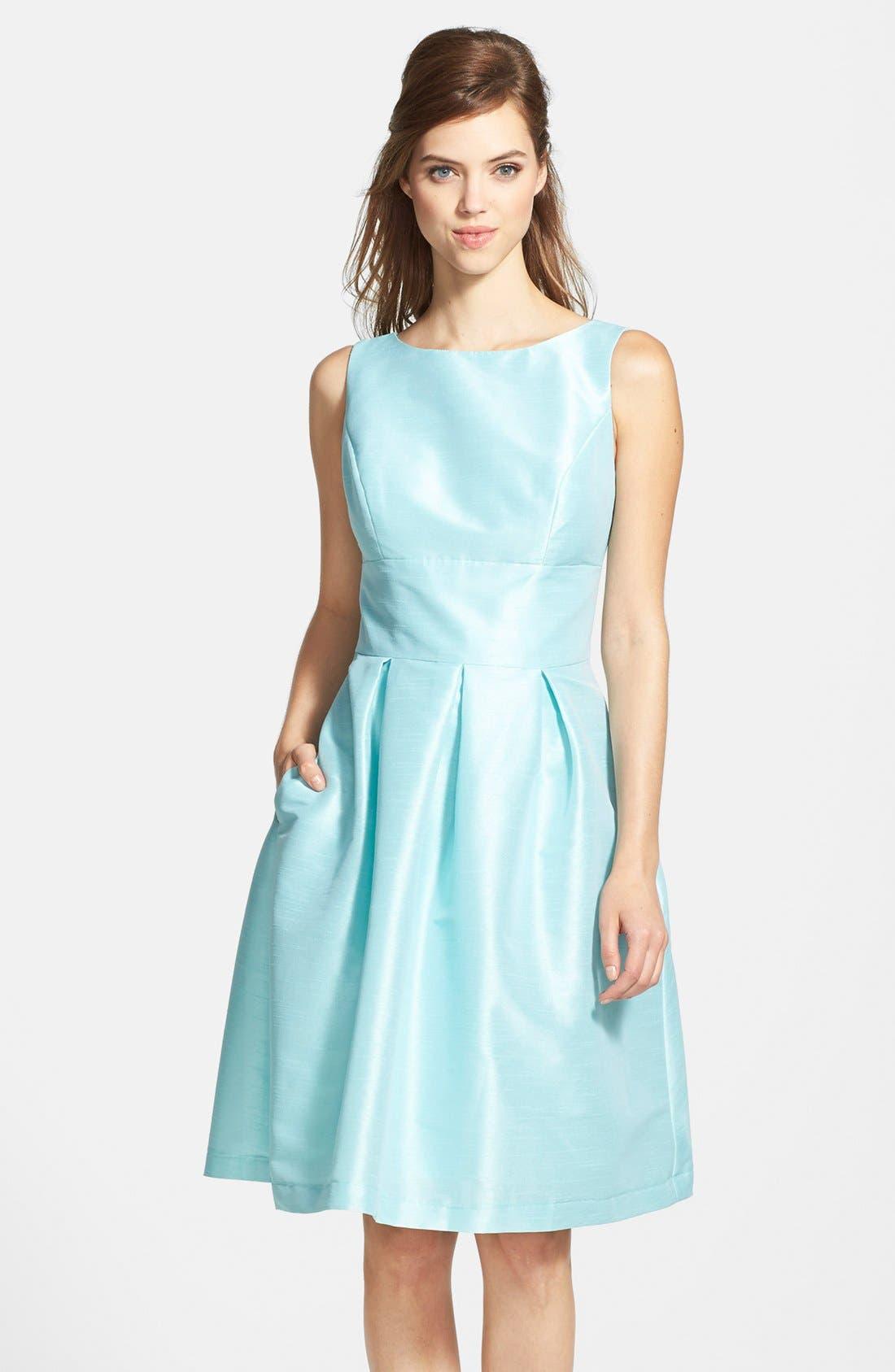 Dupioni Fit & Flare Dress,                             Main thumbnail 7, color,