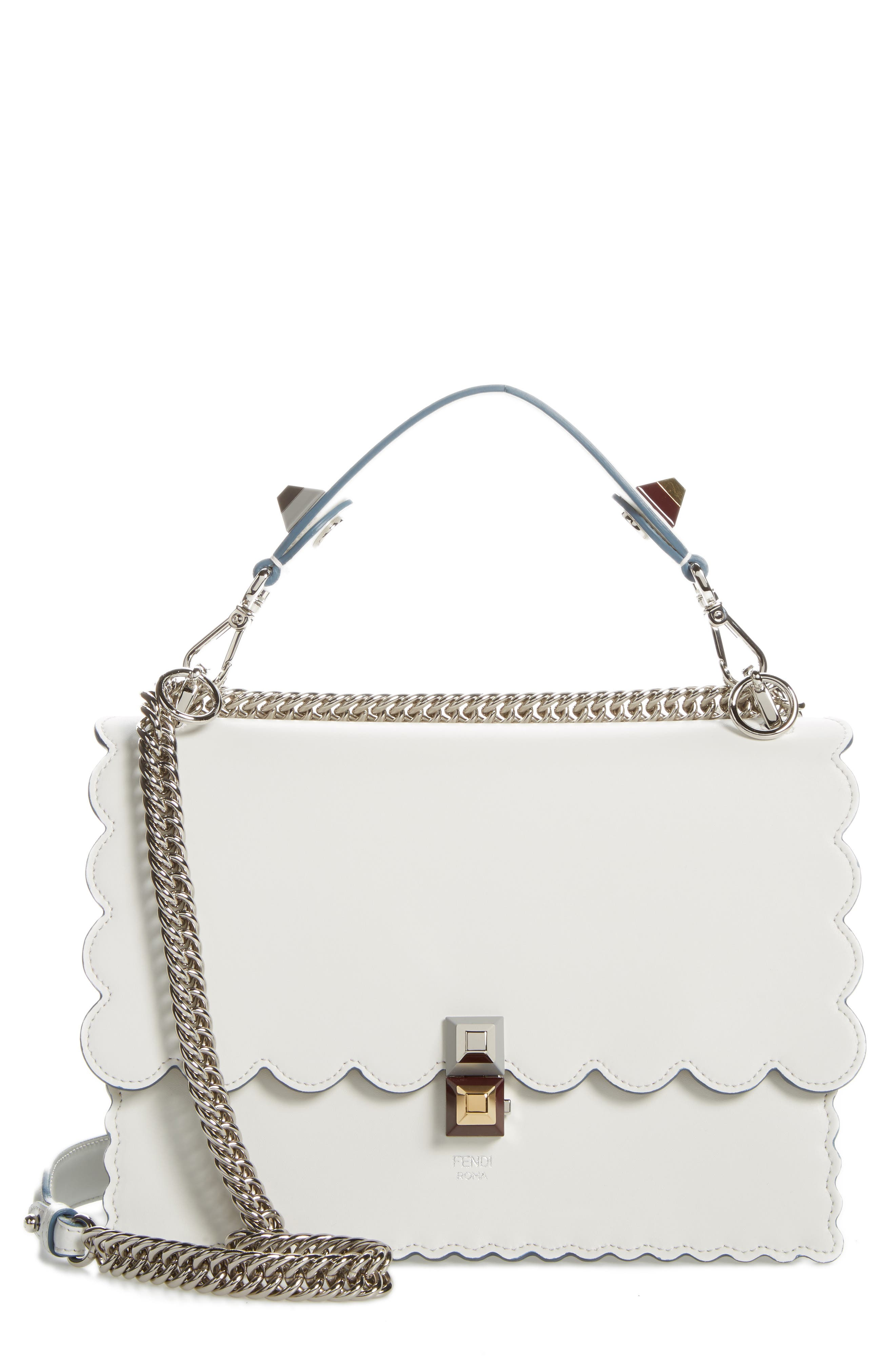 Kan I Scallop Leather Shoulder Bag,                             Main thumbnail 1, color,                             WHITE