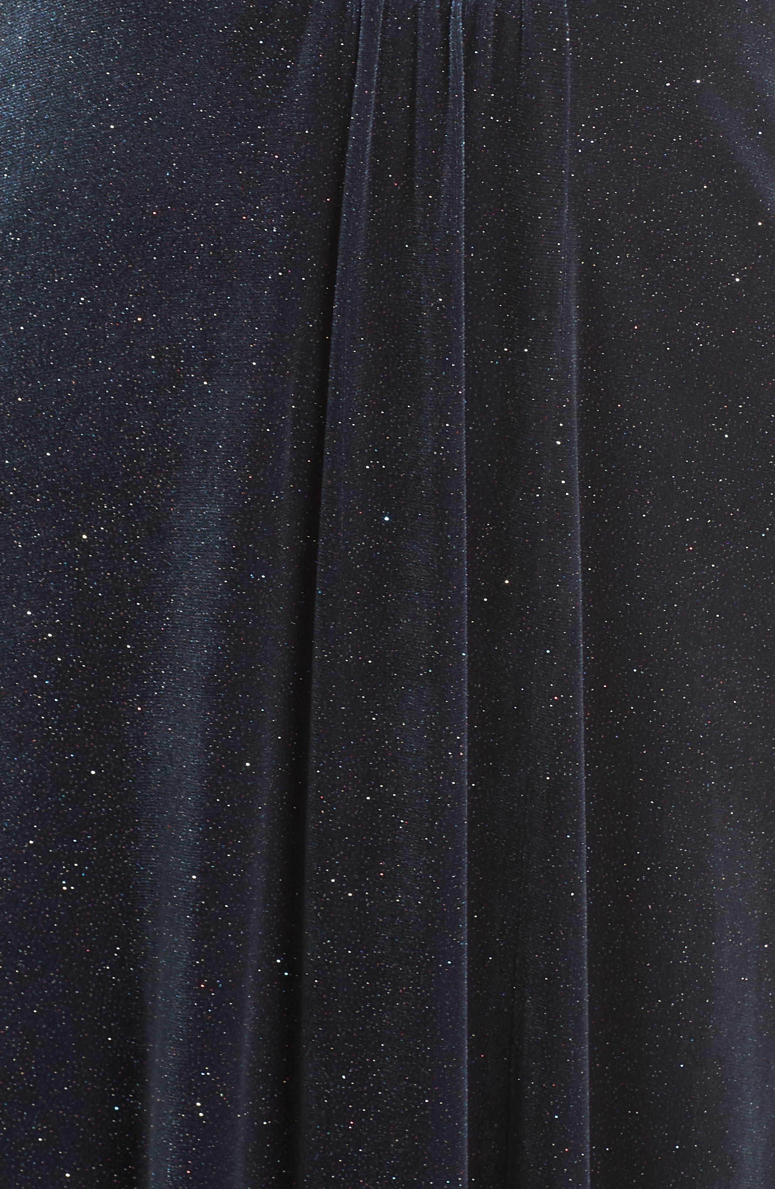 Sparkle Velvet Maxi Dress,                             Alternate thumbnail 5, color,                             MIDNIGHT
