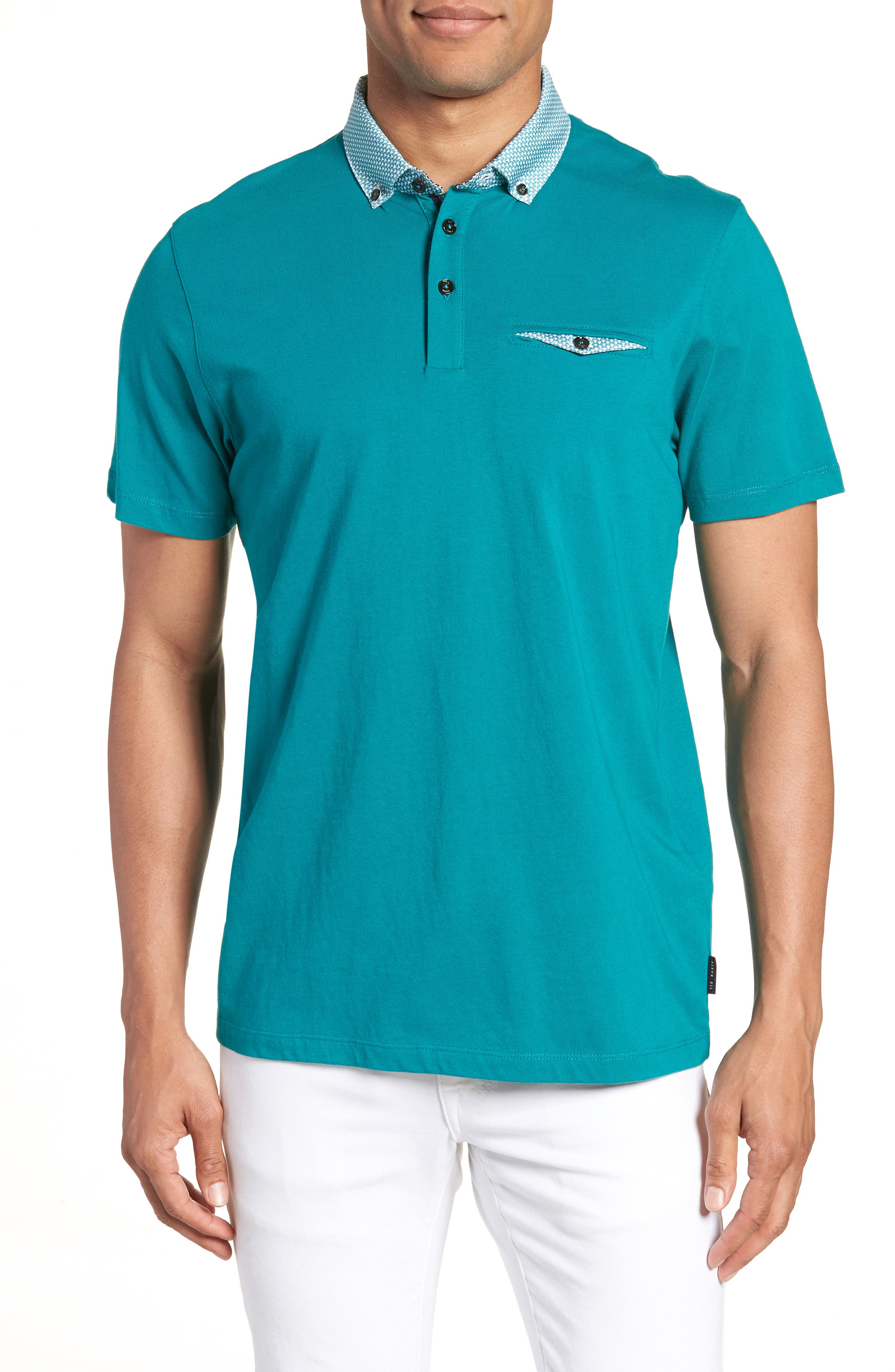 Movey Trim Fit Woven Geo Polo,                             Main thumbnail 2, color,