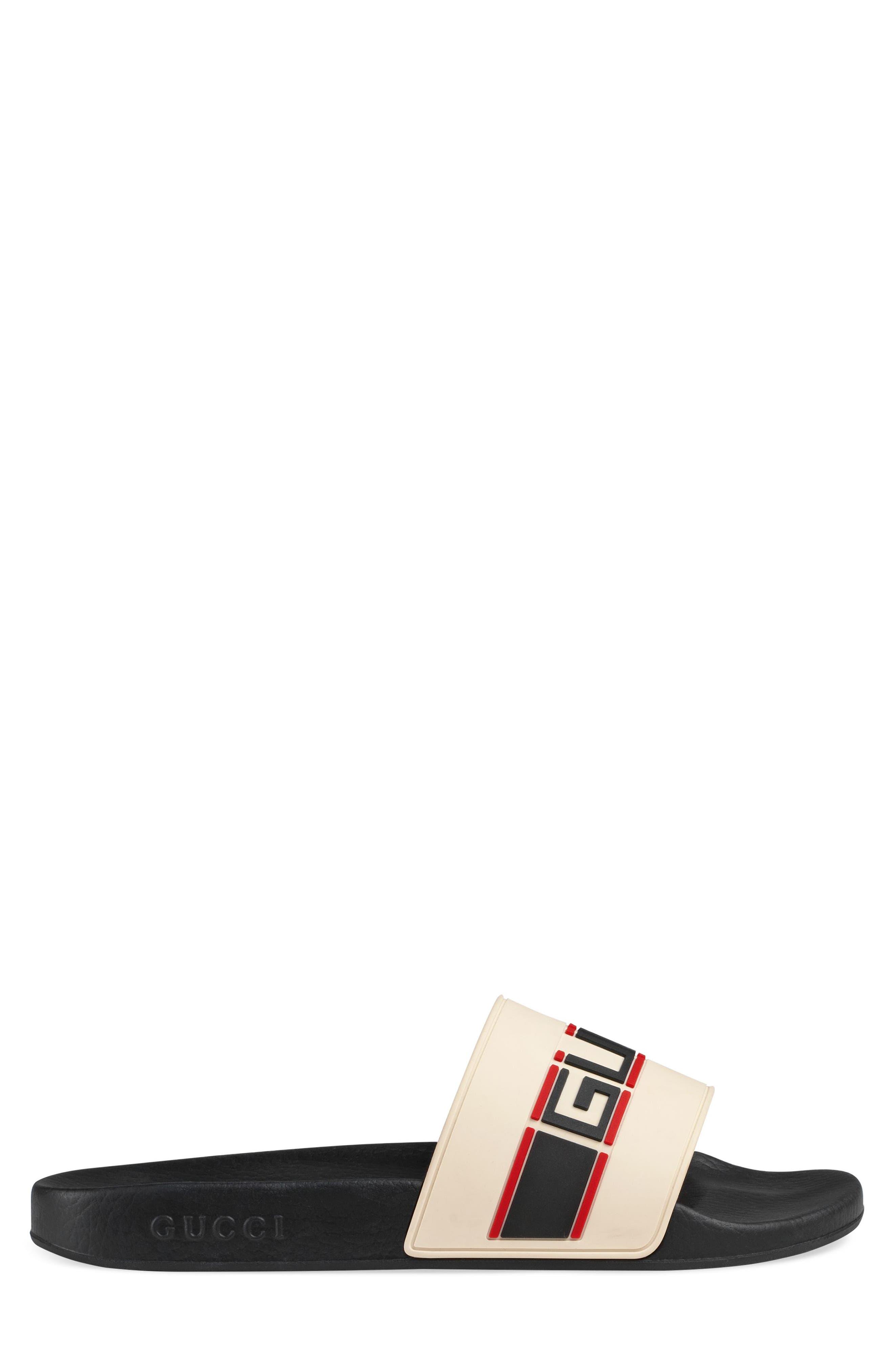 Pursuit Stripe Slide Sandal,                             Alternate thumbnail 2, color,                             WHITE/ POPPY/ NERO