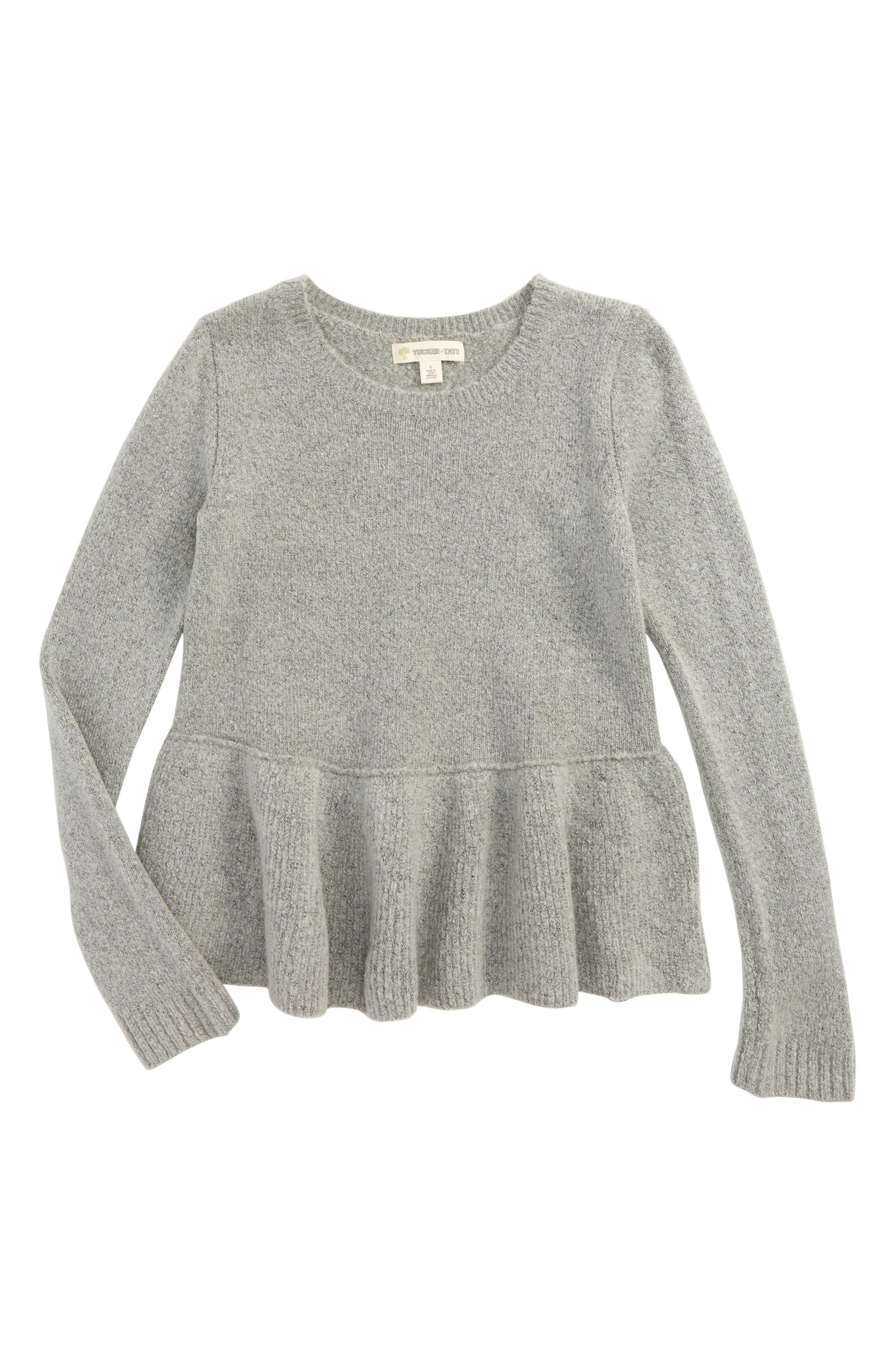Ruffle Hem Sweater,                         Main,                         color, 030