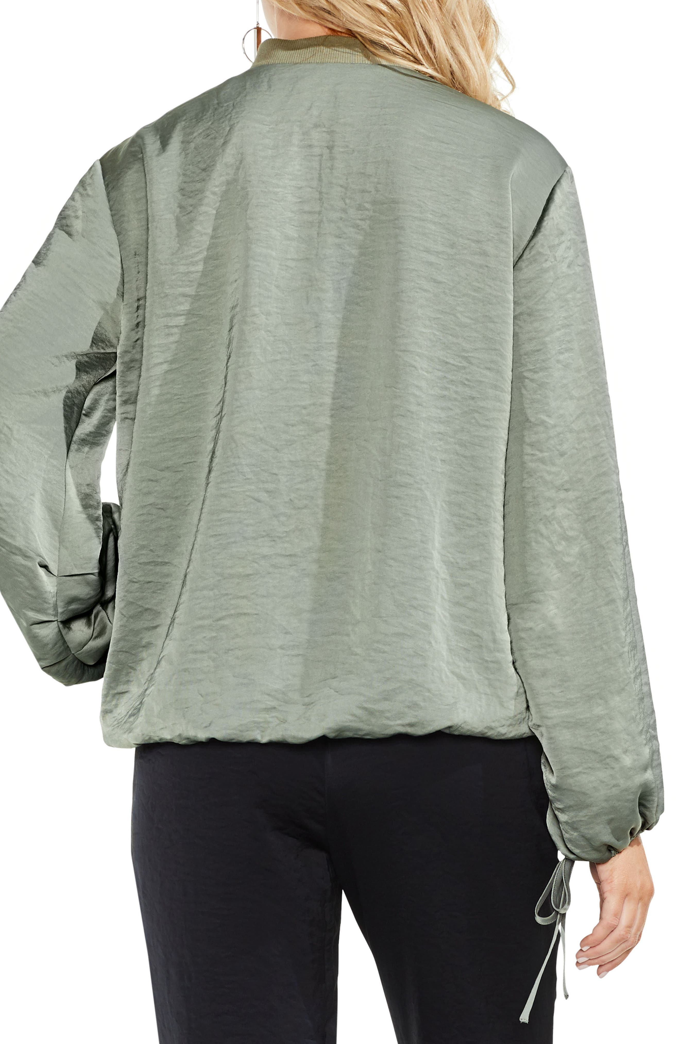 Hammered Satin Drawstring Bomber Jacket,                             Alternate thumbnail 3, color,