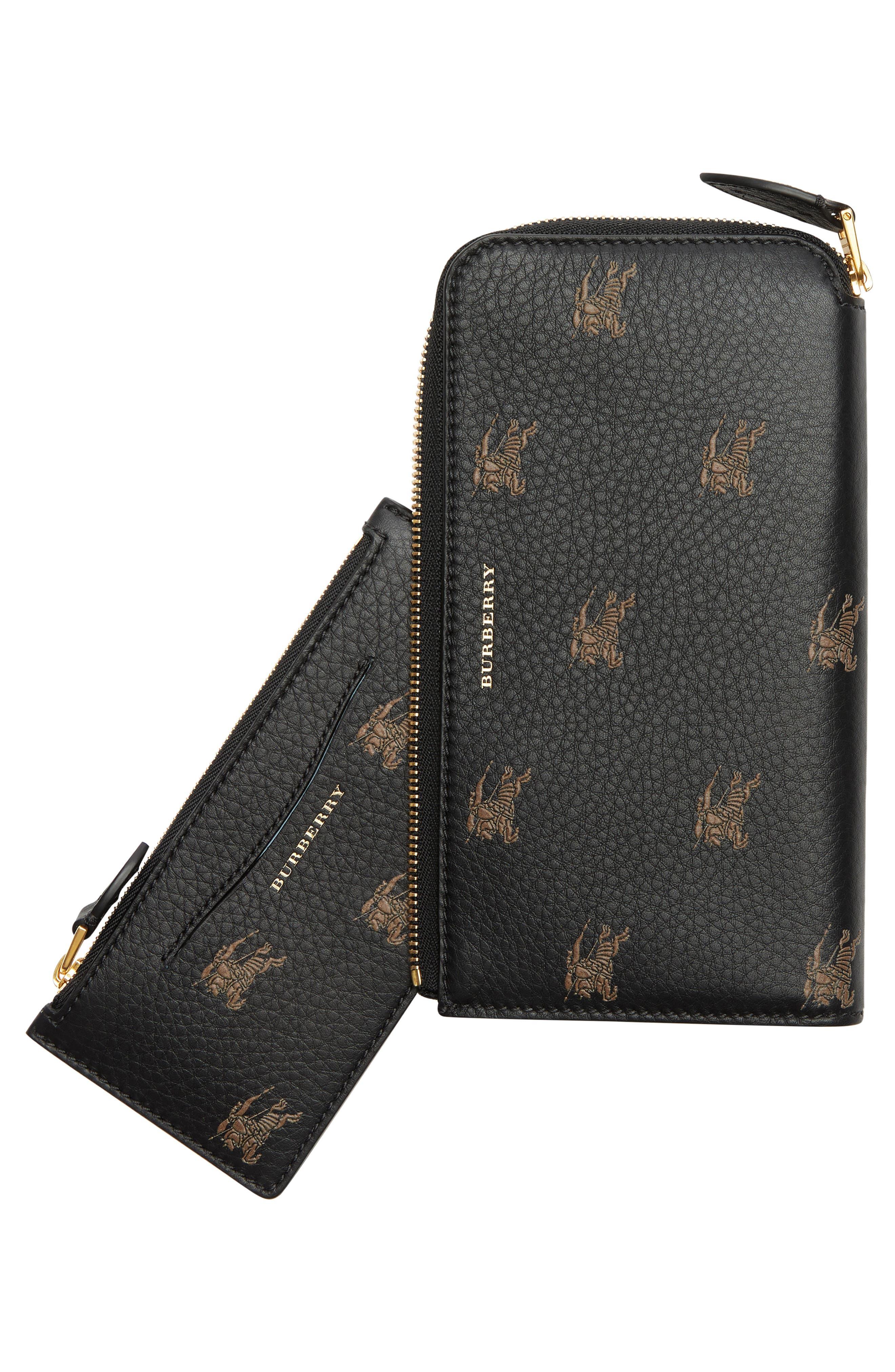 Embossed Leather Zip Around Wallet,                             Alternate thumbnail 6, color,                             BLACK