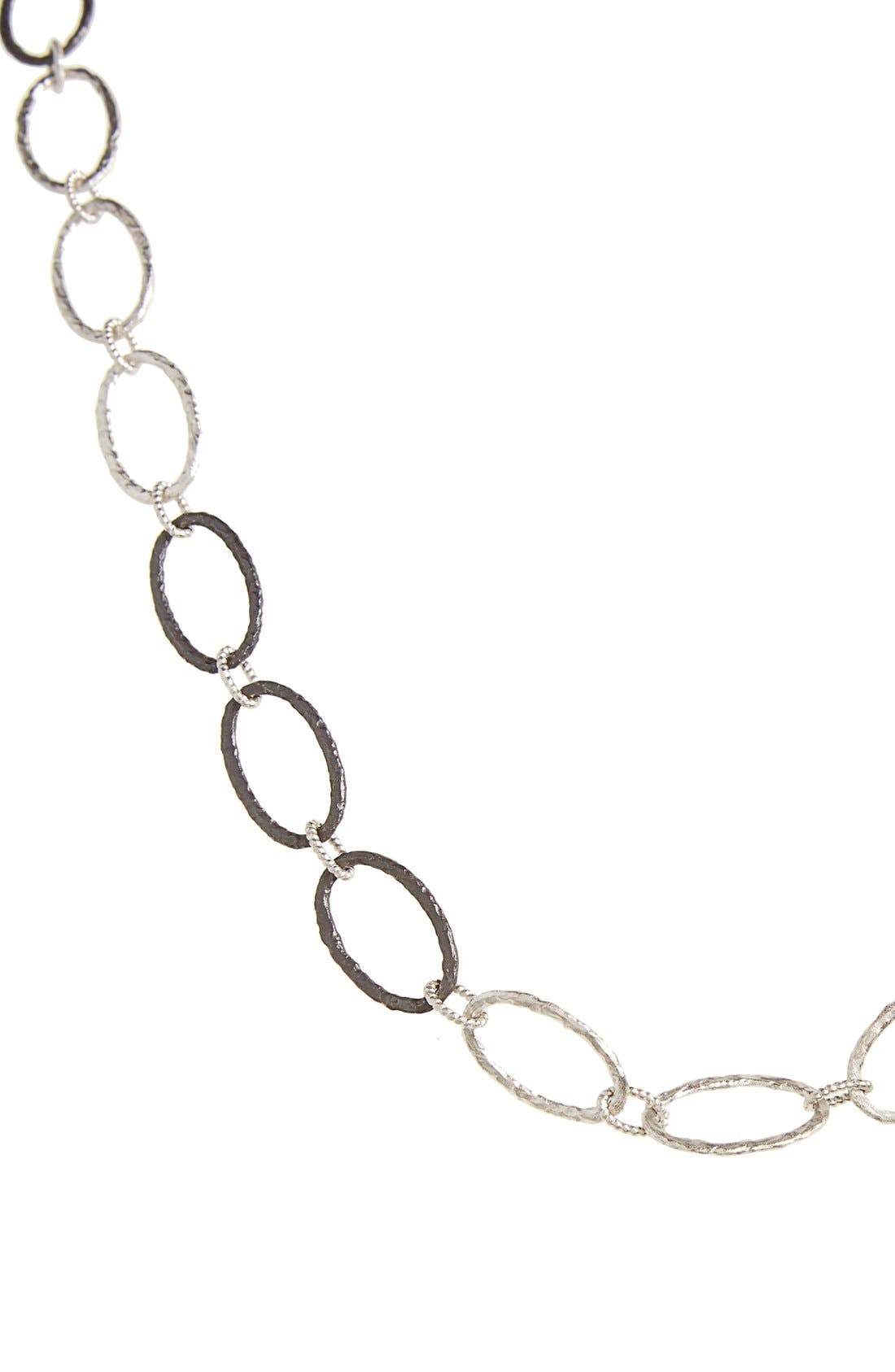Old World Midnight Oval Link Necklace,                             Alternate thumbnail 2, color,                             SILVER
