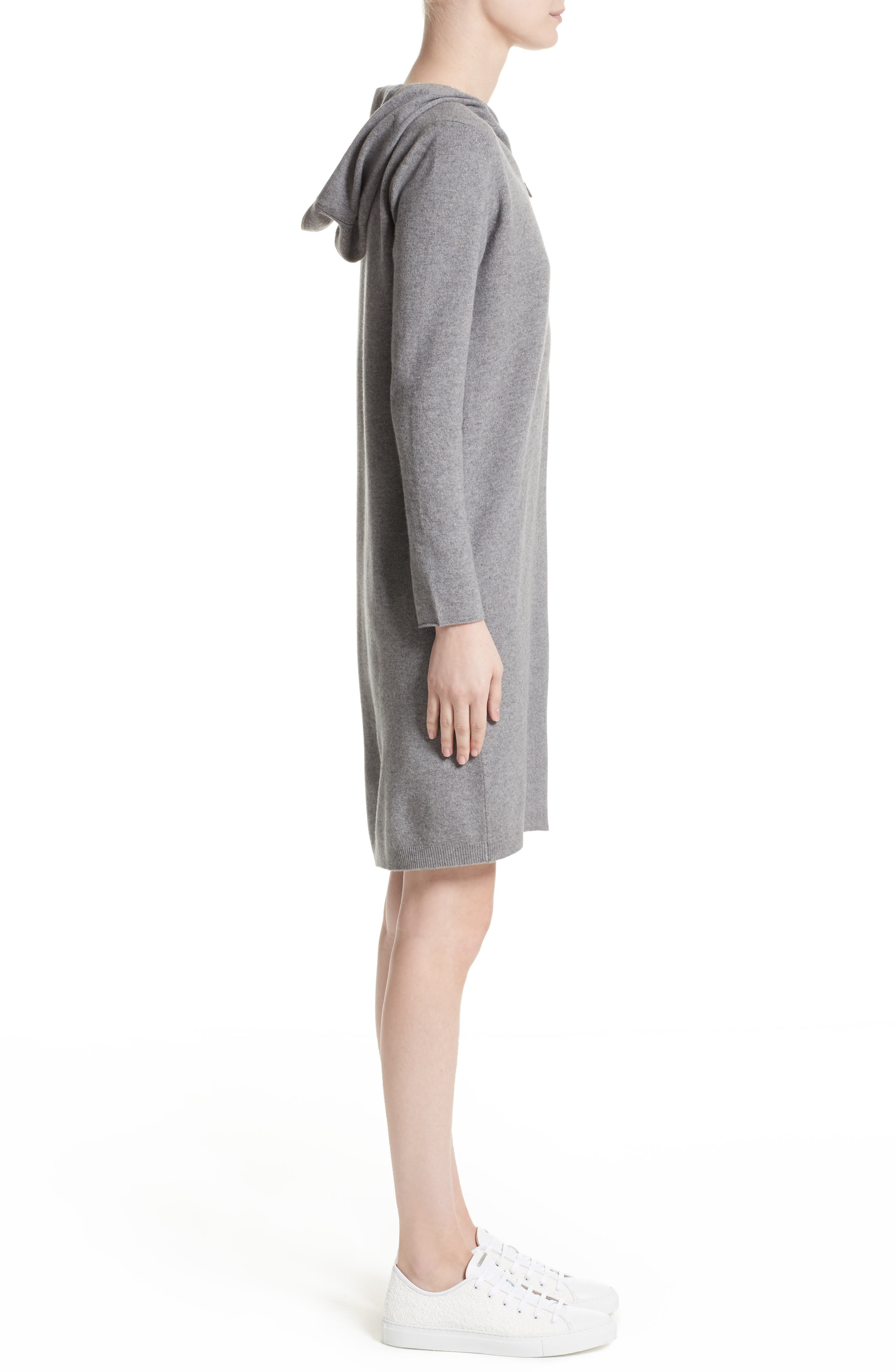 Wool, Silk & Cashmere Hooded Dress,                             Alternate thumbnail 3, color,                             020