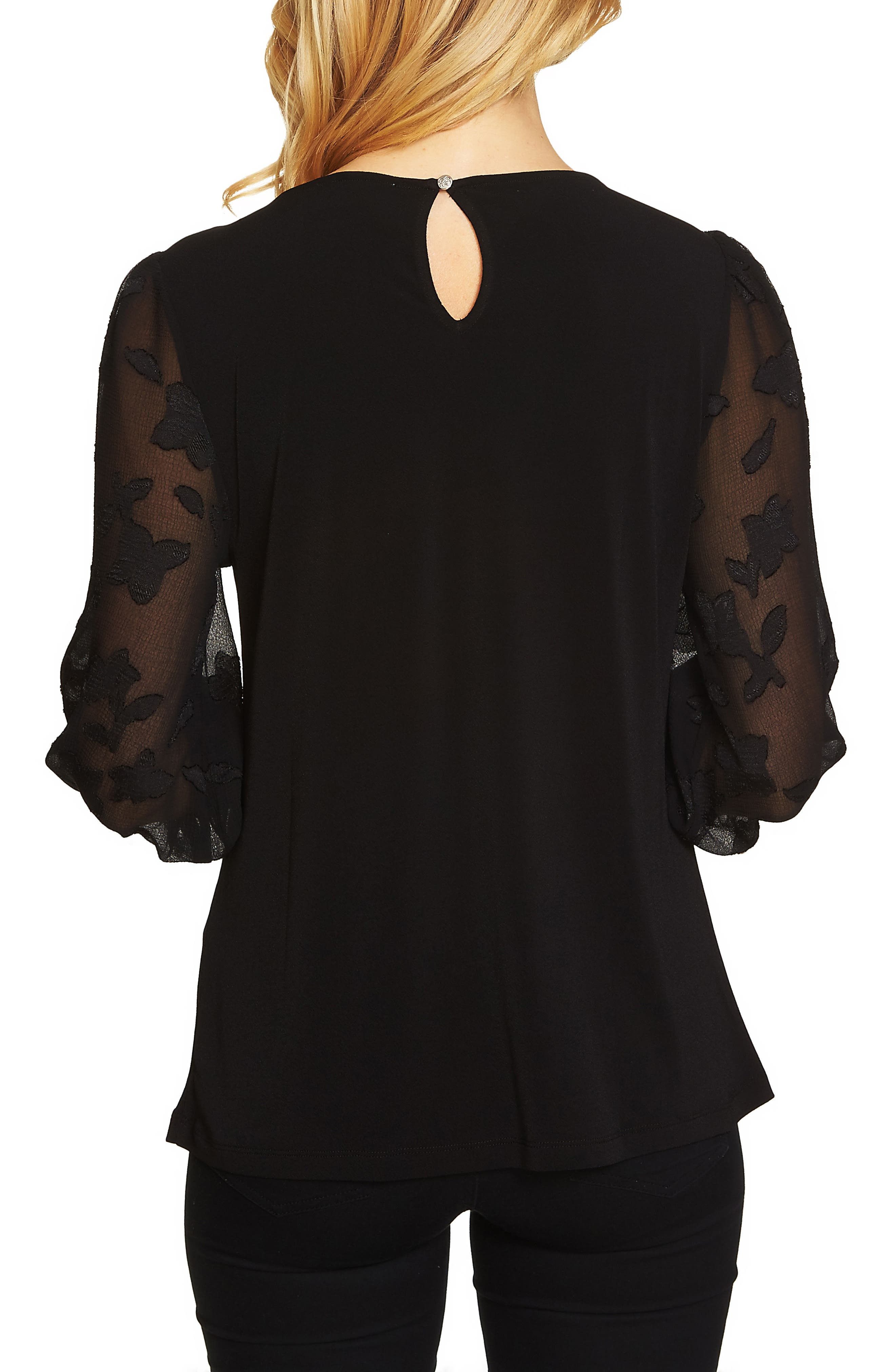 Lace Sleeve Stretch Crepe Blouse,                             Alternate thumbnail 3, color,