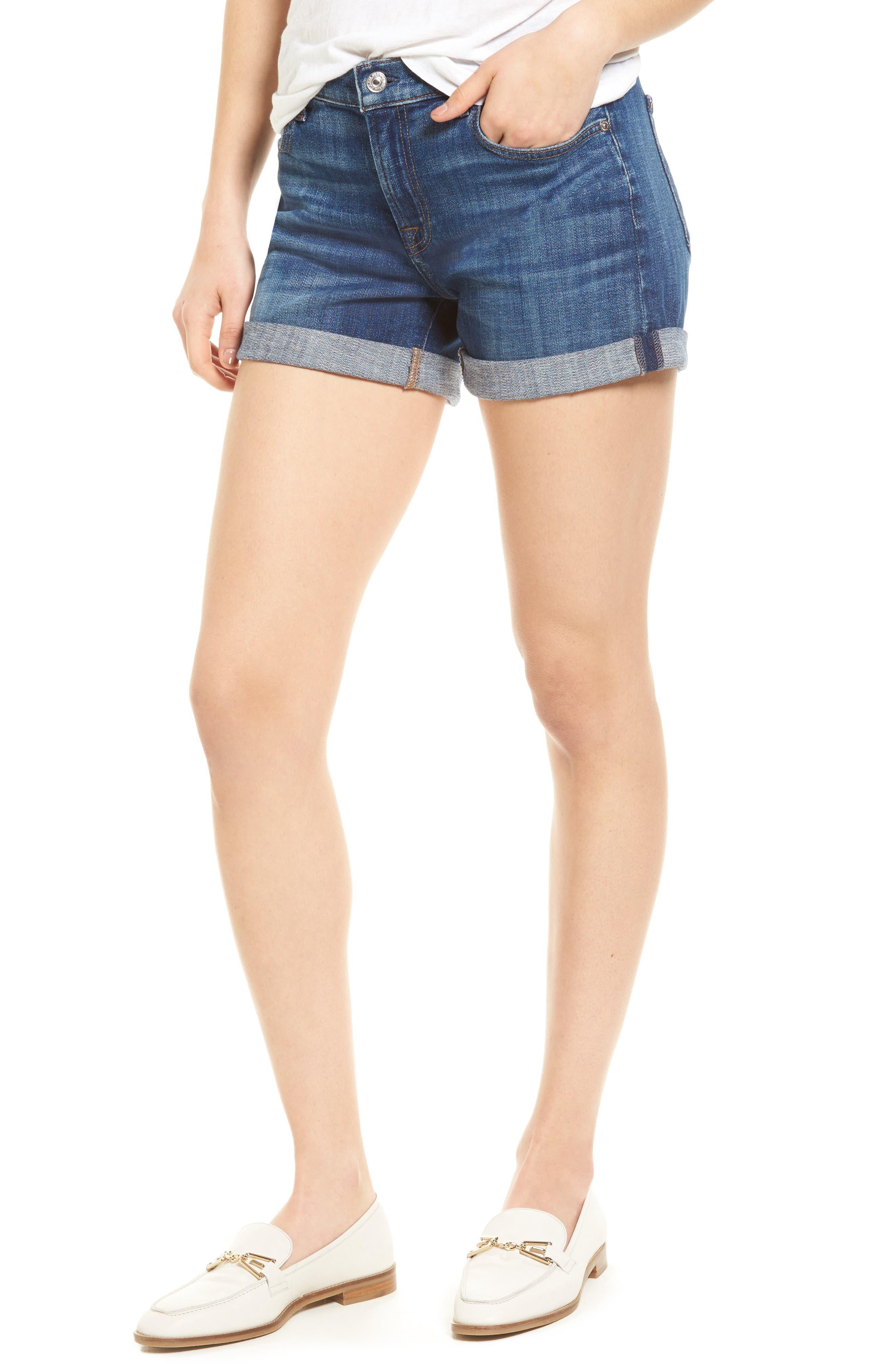 Roll Cuff Denim Shorts,                         Main,                         color, 400