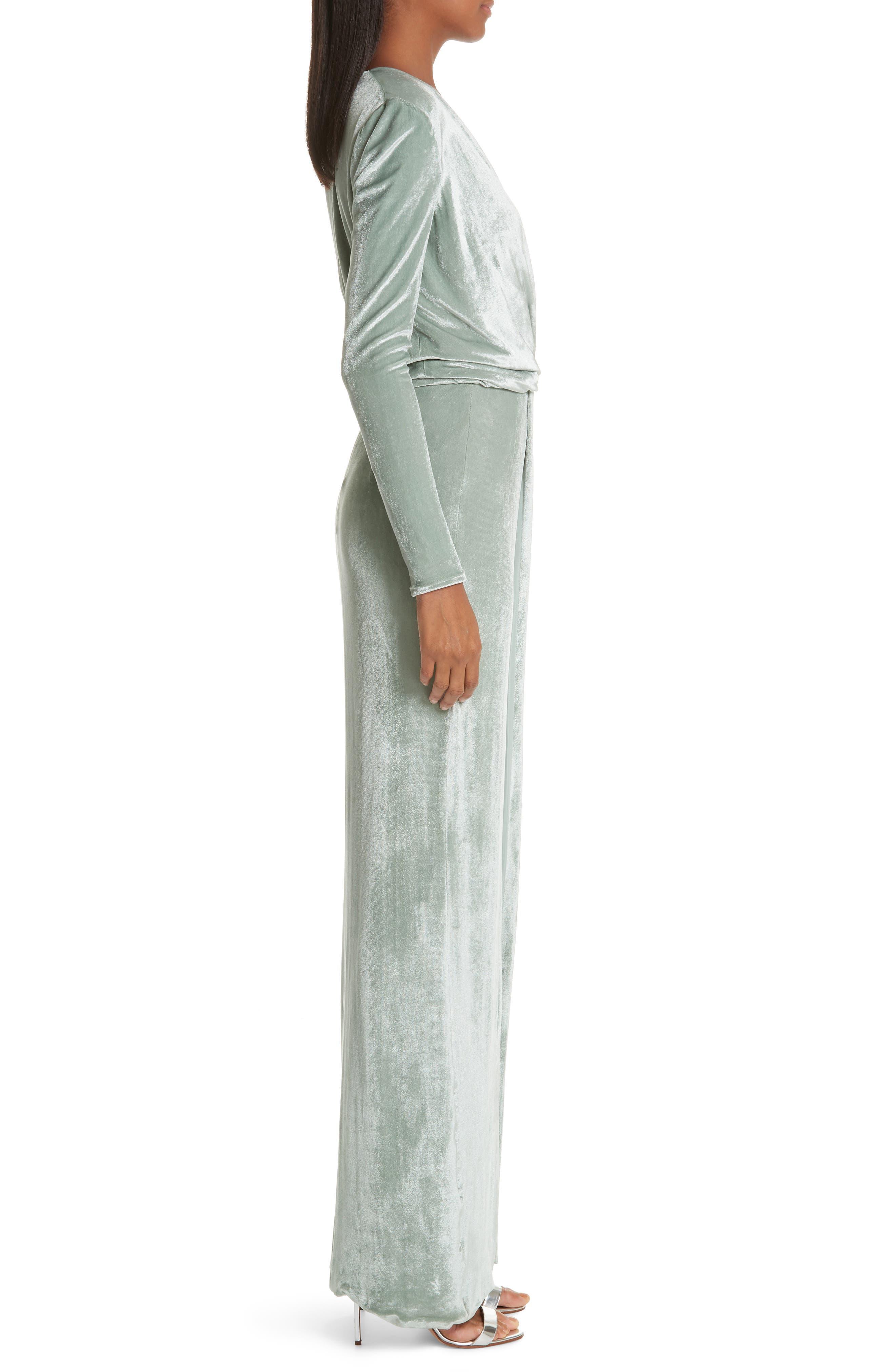 GALVAN,                             Surplice Neck Velvet Gown,                             Alternate thumbnail 3, color,                             MINT