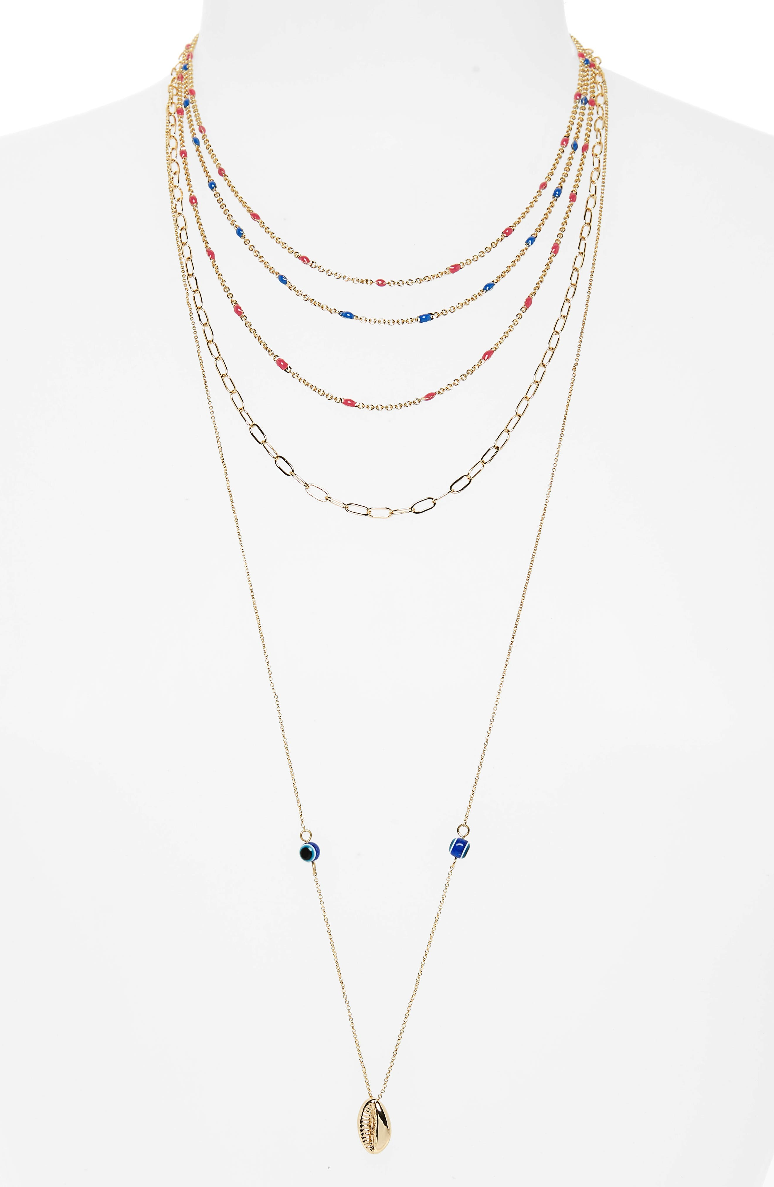 Beachy Layered Chains Necklace,                         Main,                         color,