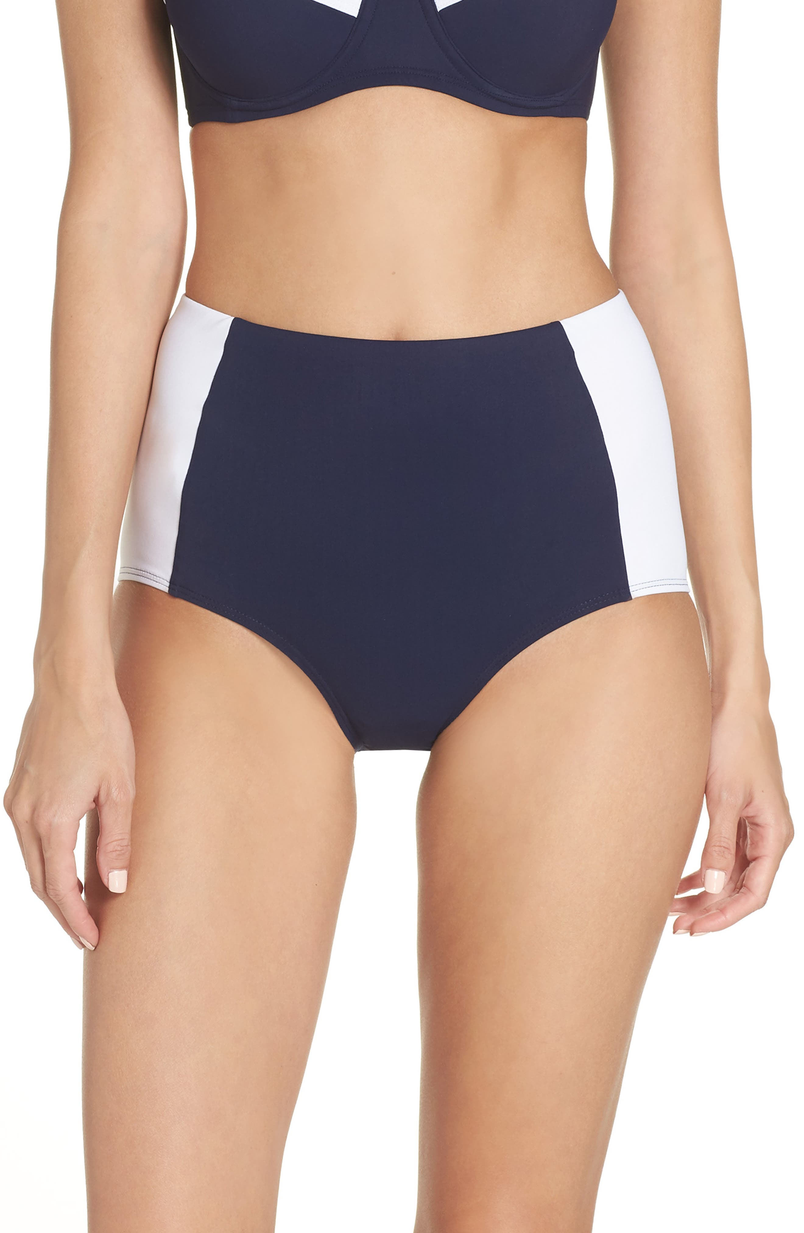 Lipsi High-Waist Colorblock Bikini Swim Bottoms in Tory Navy/ White