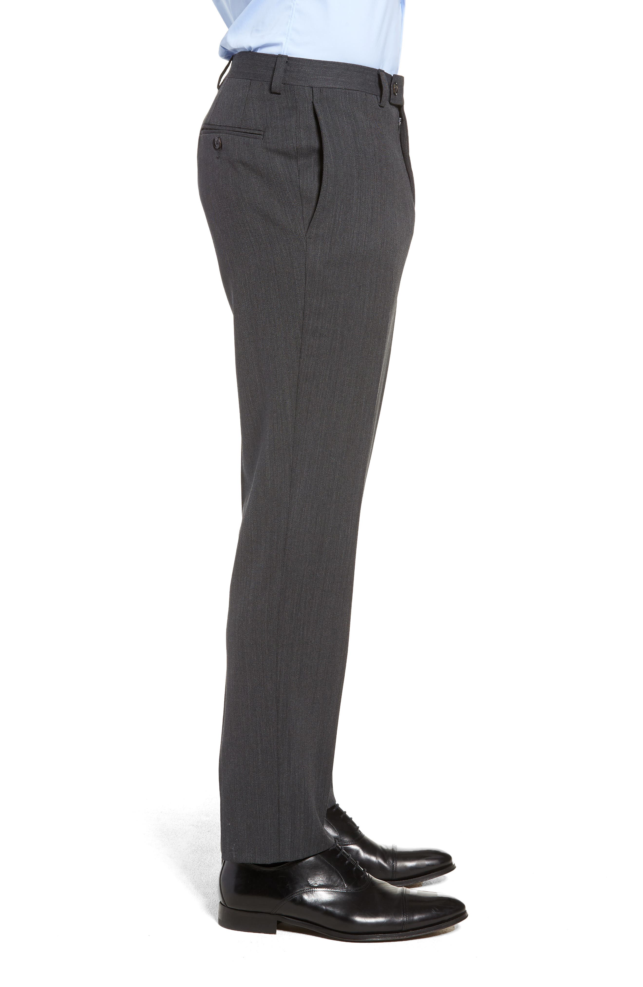 Jefferson Flat Front Solid Wool Trousers,                             Alternate thumbnail 3, color,                             GREY