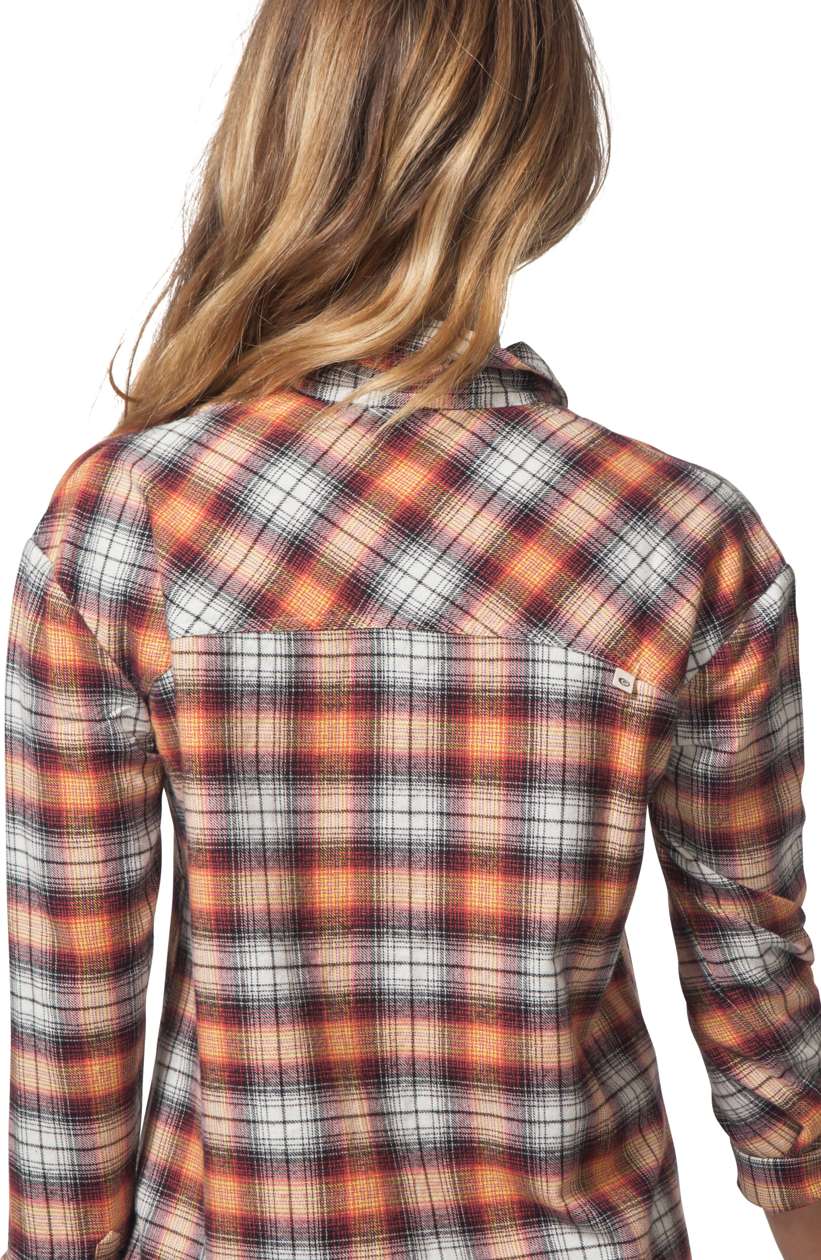 One Step Plaid Flannel Top,                             Alternate thumbnail 4, color,                             VANILLA